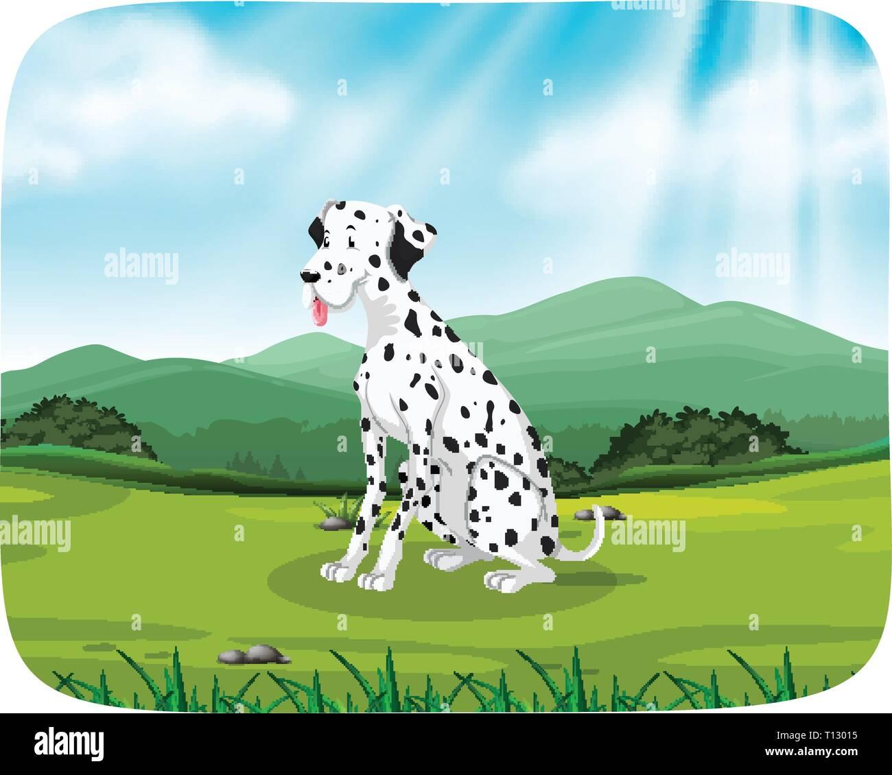 Dalmatian on nature scene illustration - Stock Vector