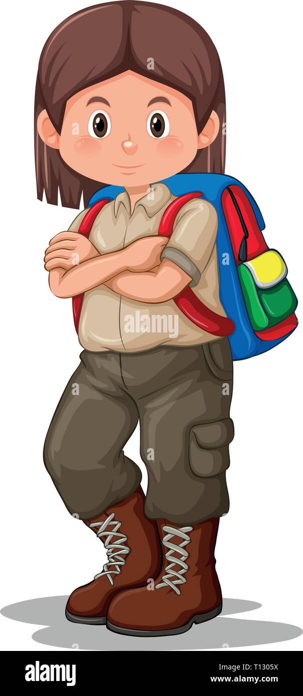 Scout girl with backpack illustration - Stock Vector