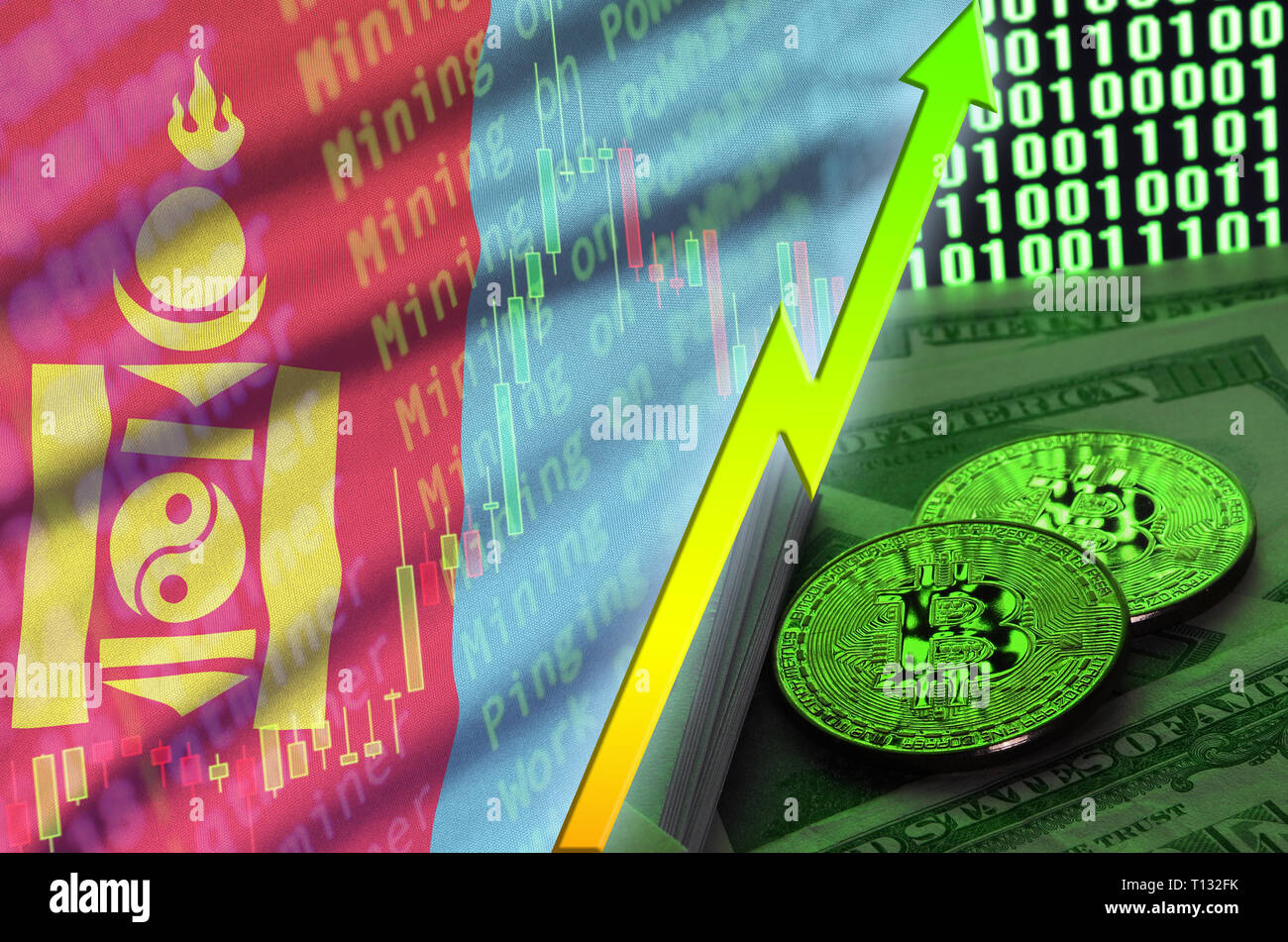 Mongolia flag and cryptocurrency growing trend with two bitcoins on dollar bills and binary code display. Concept of raising Bitcoin in price and high - Stock Image