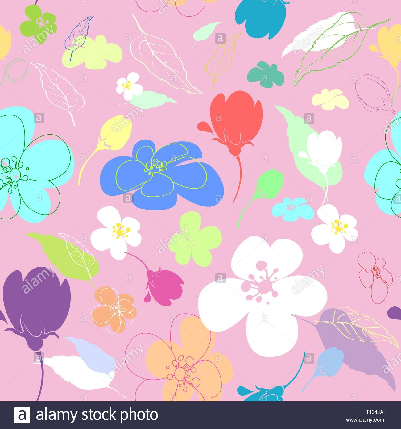 Seamless multi-colored flowers in the thumbnail style varying degrees of elaboration on a pink background - Stock Vector