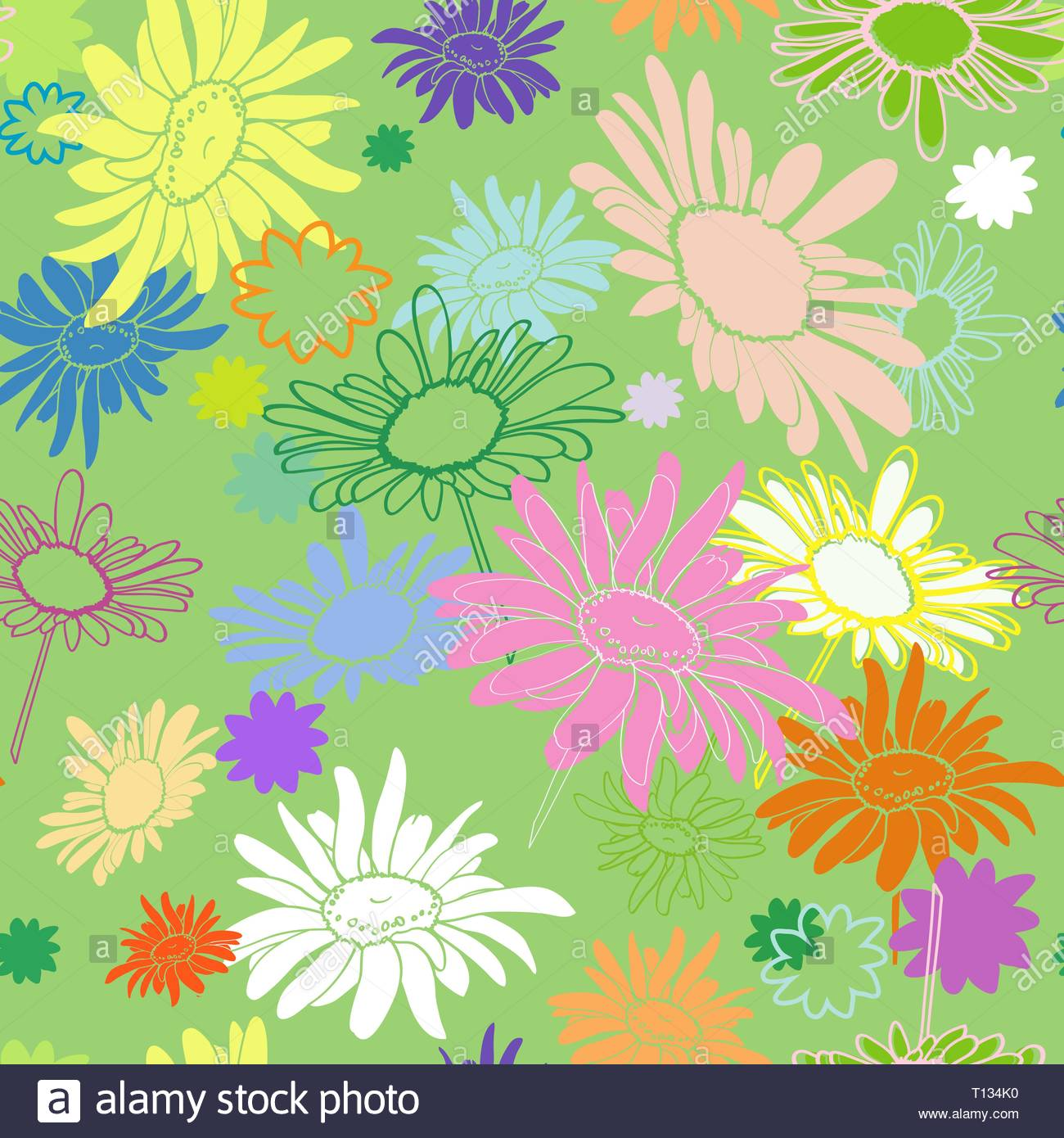 Seamless multi-colored flowers on a green background, with varying degrees of drawing drawn in the thumbnail style - Stock Vector