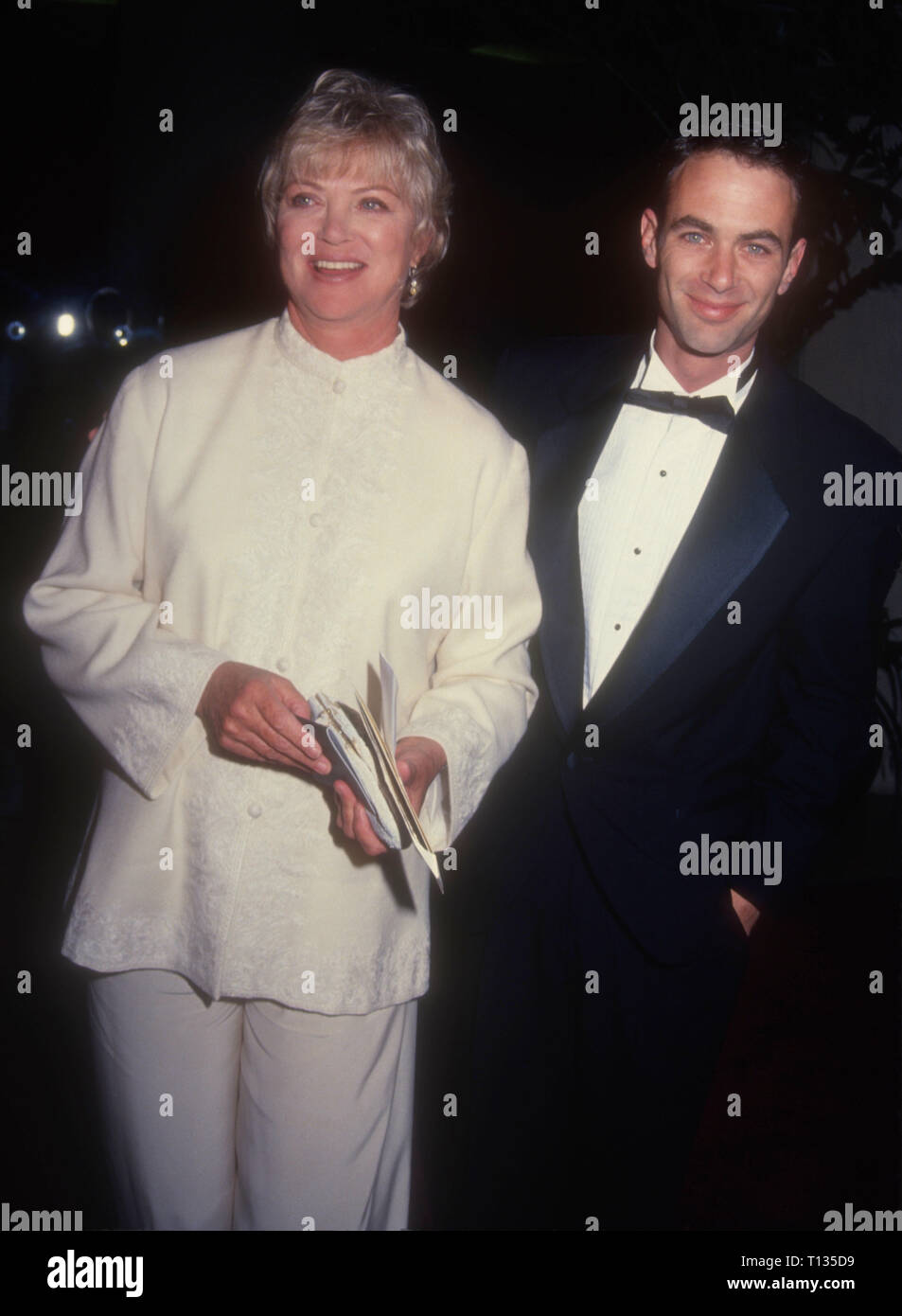 BEVERLY HILLS, CA - MARCH 3: Actress Louise Fletcher and son Andrew Wilson Bick attend the 22nd Annual American Film Institute (AFI) Lifetime Achievement Award Salute to Jack Nicholson on March 3, 1994 at the Beverly Hilton Hotel in Beverly Hills, California. Photo by Barry King/Alamy Stock Photo - Stock Image