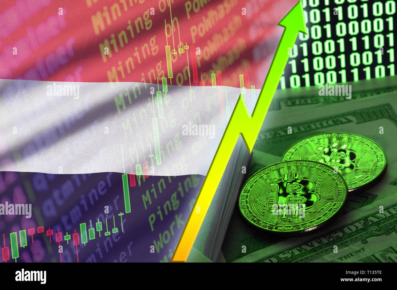 Yemen flag and cryptocurrency growing trend with two bitcoins on dollar bills and binary code display. Concept of raising Bitcoin in price and high co Stock Photo