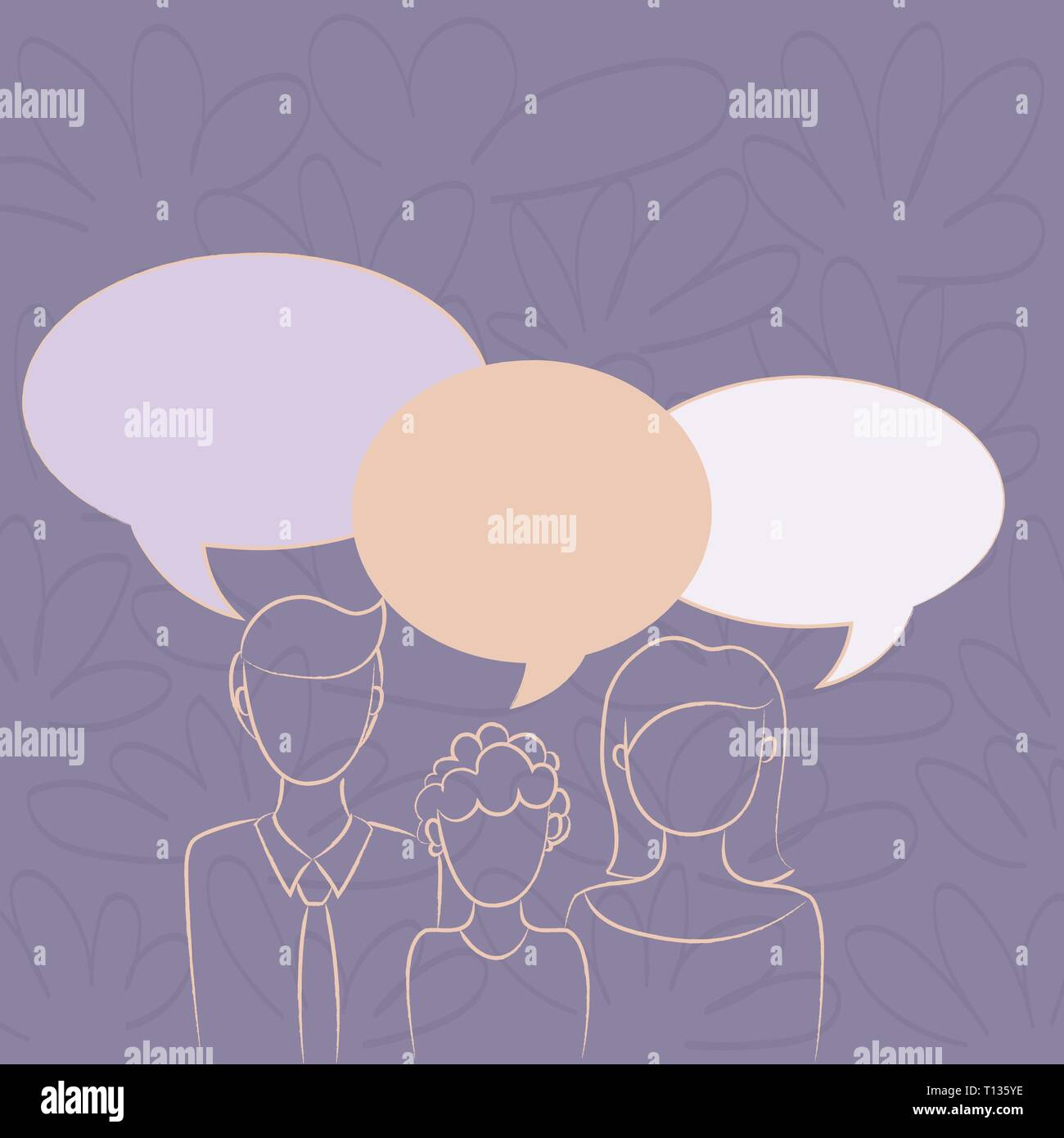 Family of One Child Between Father and Mother and Their Own Speech Bubble Design business Empty template isolated Minimalist graphic layout template f - Stock Vector