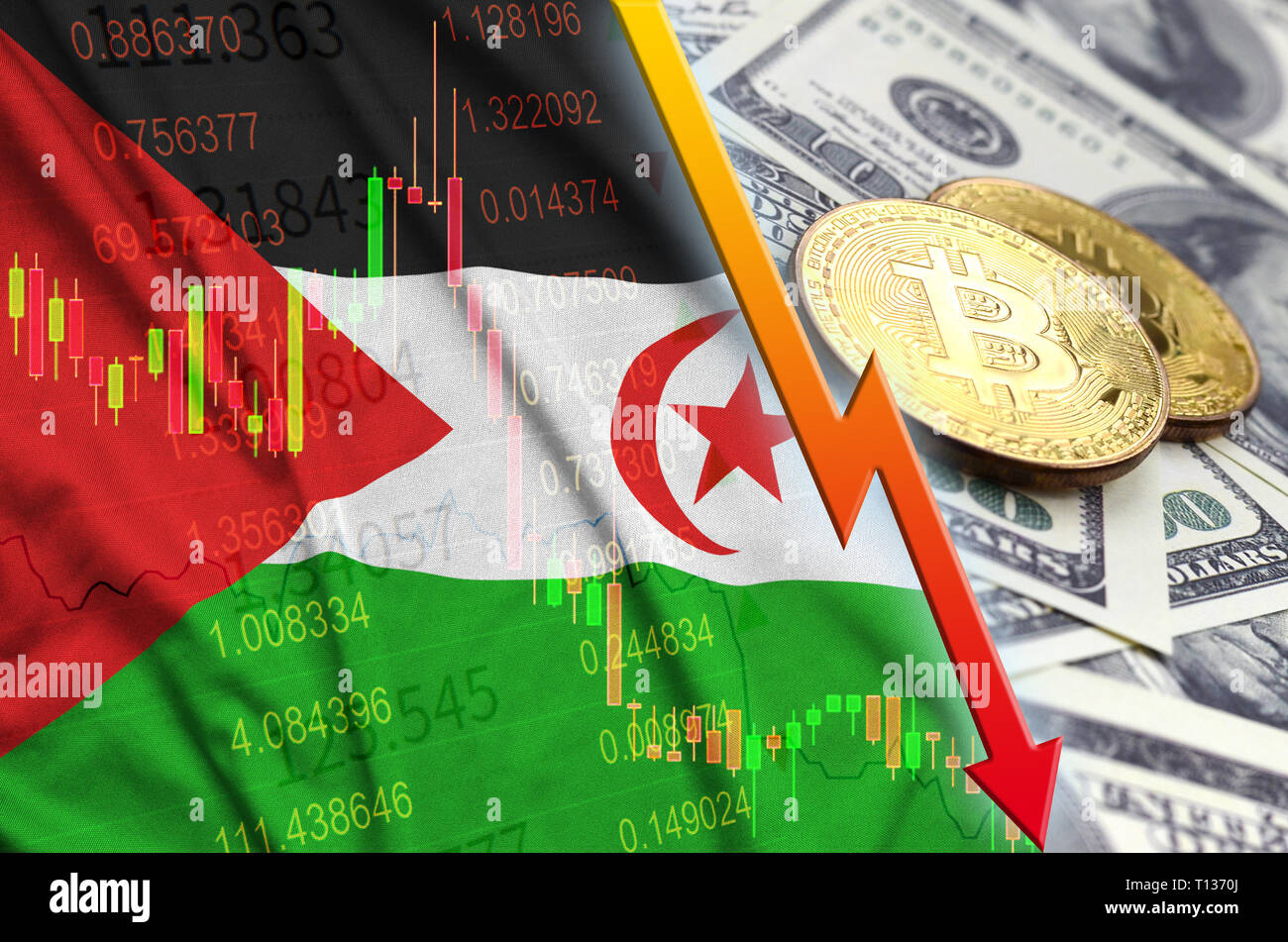 Western Sahara flag and cryptocurrency falling trend with two bitcoins on dollar bills. Concept of depreciation Bitcoin in price against the dollar - Stock Image