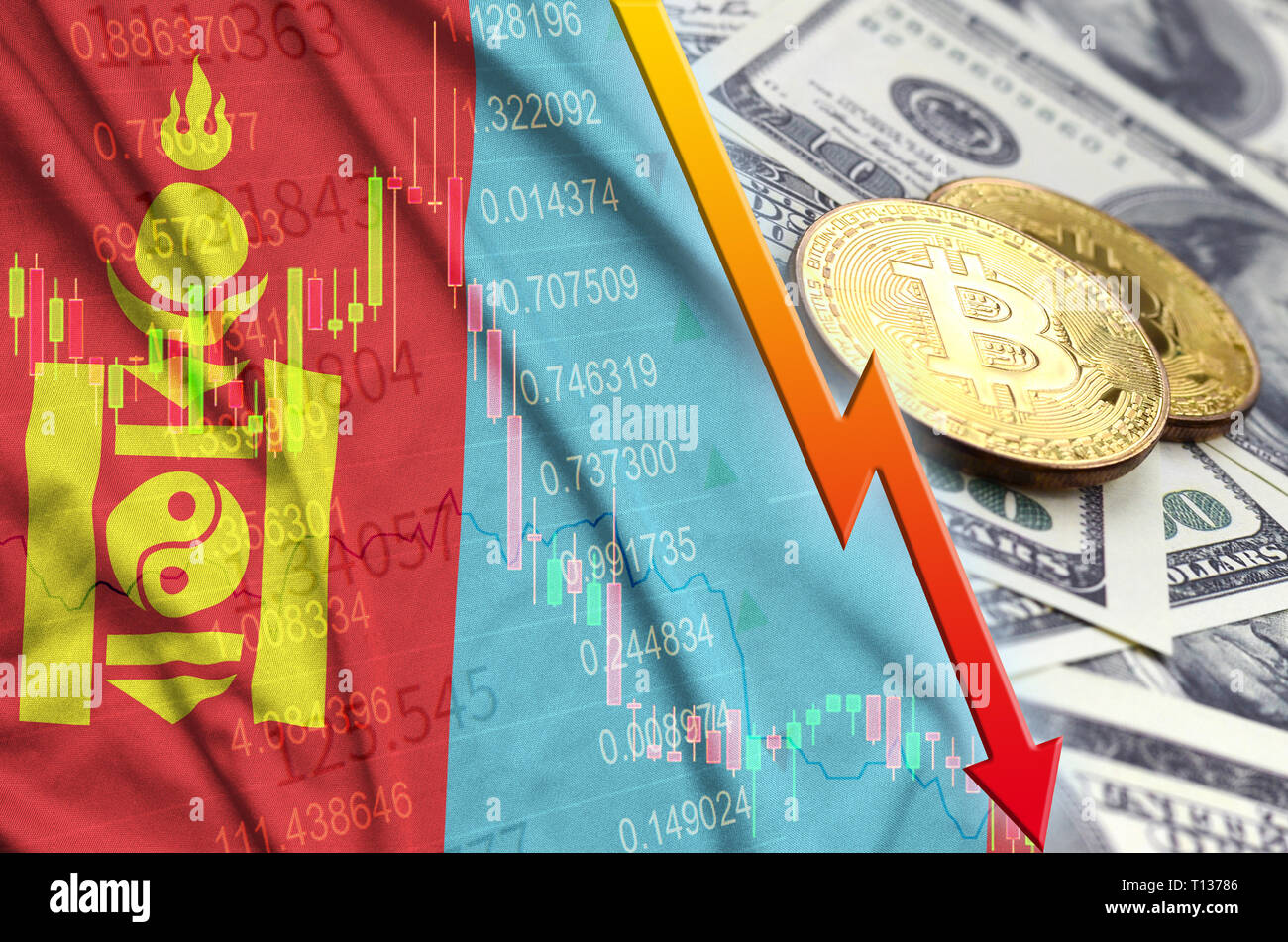 Mongolia flag and cryptocurrency falling trend with two bitcoins on dollar bills. Concept of depreciation Bitcoin in price against the dollar - Stock Image
