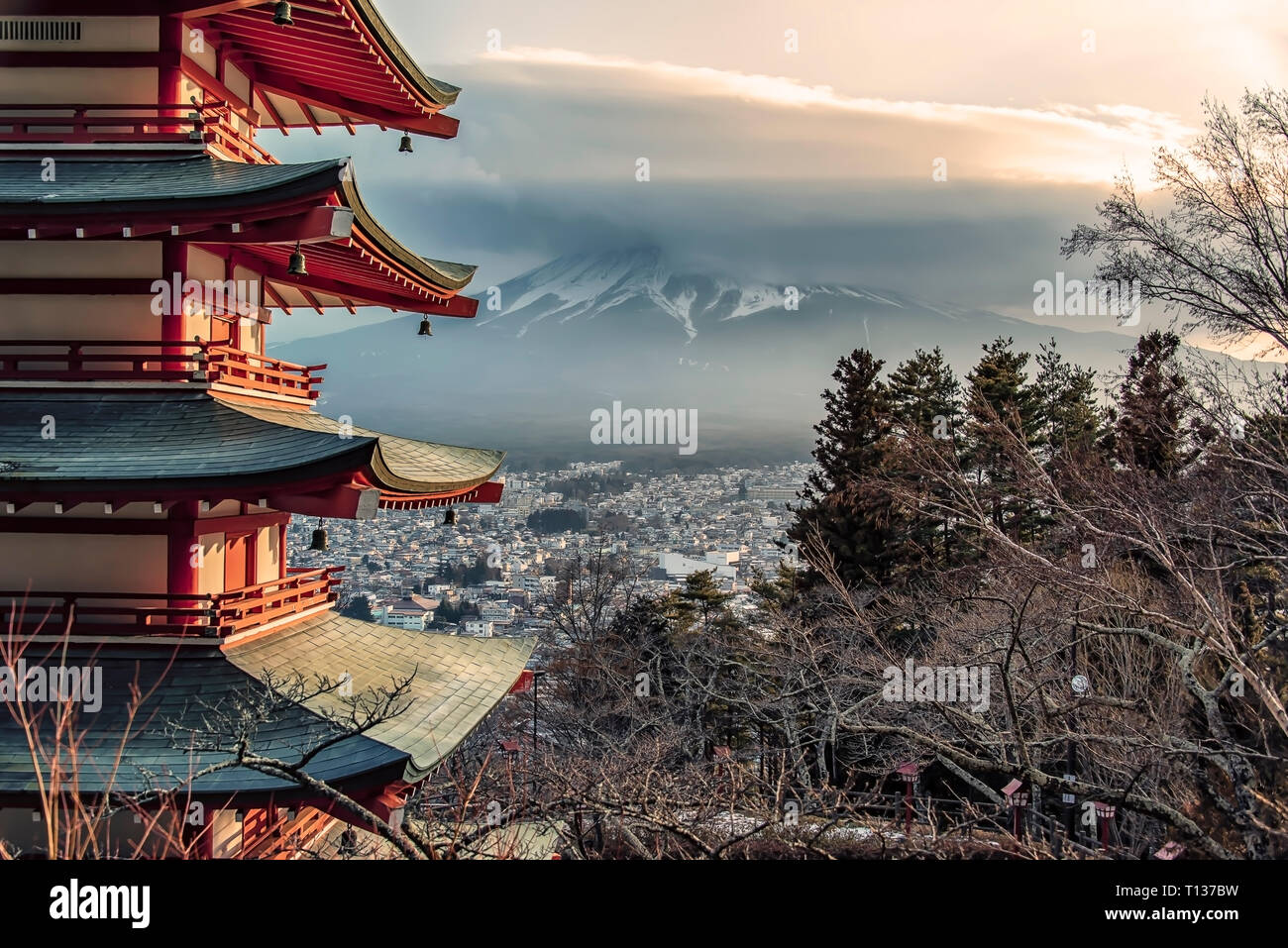 Famous Place of Japan with Chureito pagoda and Mount Fuji in daytime Stock Photo