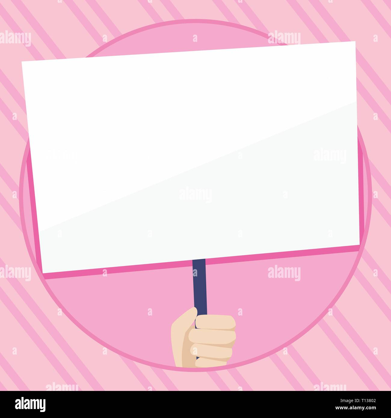 Hand Holding Blank White Placard Supported by Handle for Social Awareness Business concept Empty template copy space isolated Posters coupons promotio - Stock Vector