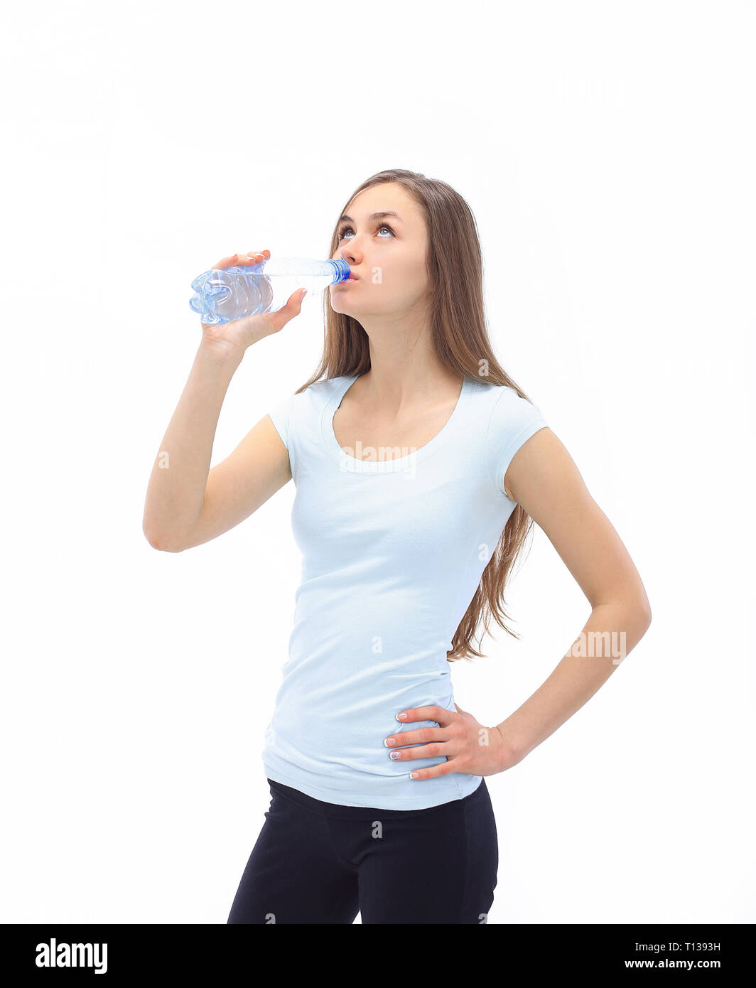 fitness woman with water bottle.isolated on white - Stock Image