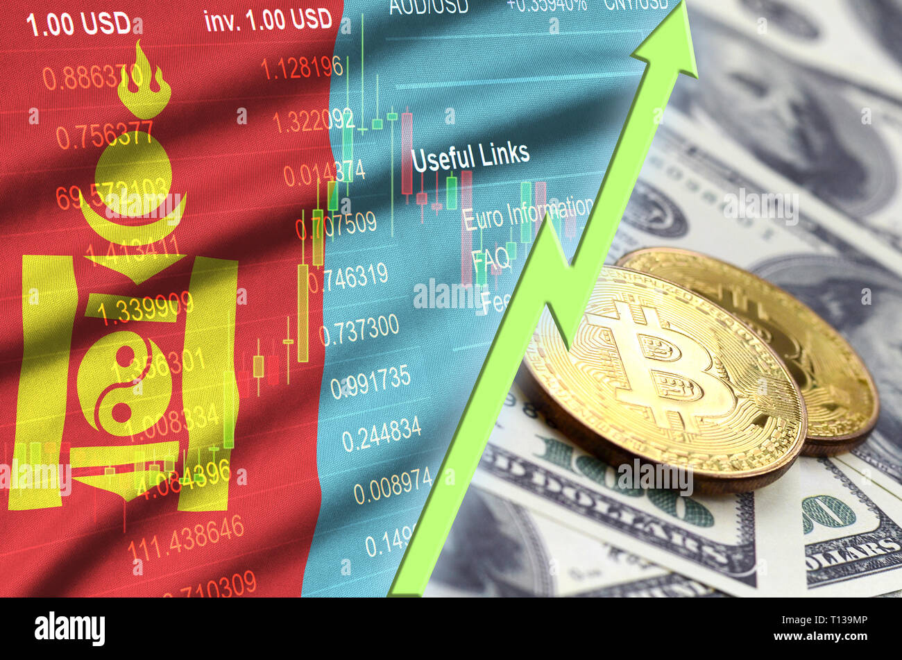 Mongolia flag and cryptocurrency growing trend with two bitcoins on dollar bills. Concept of raising Bitcoin in price against the dollar - Stock Image