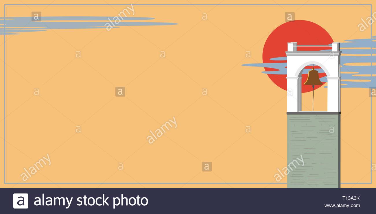Southern landscape with bell tower against the background of the orange sky - Stock Vector