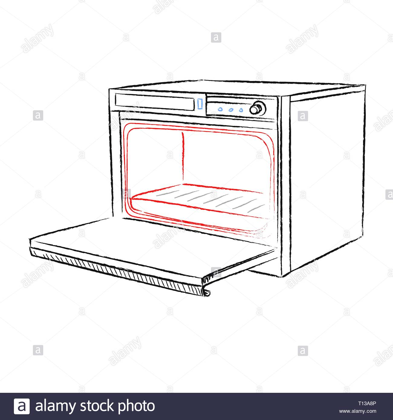 Retro household oven made in the thumbnail style on a white background - Stock Vector