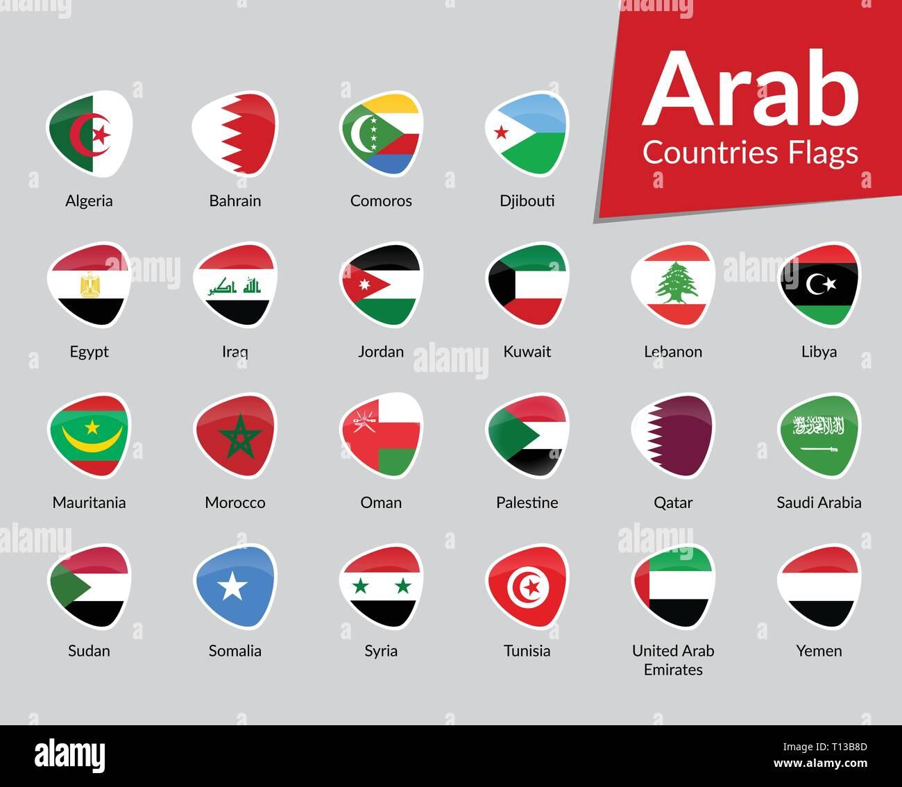 Arab Countries Flags vector icon collection - Stock Vector