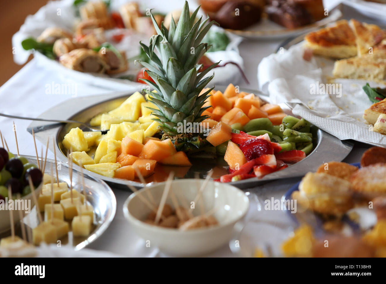 Retro, Old Fashioned Party Food Pictured On A Table At A Party In Bognor  Regis, West Sussex, UK.