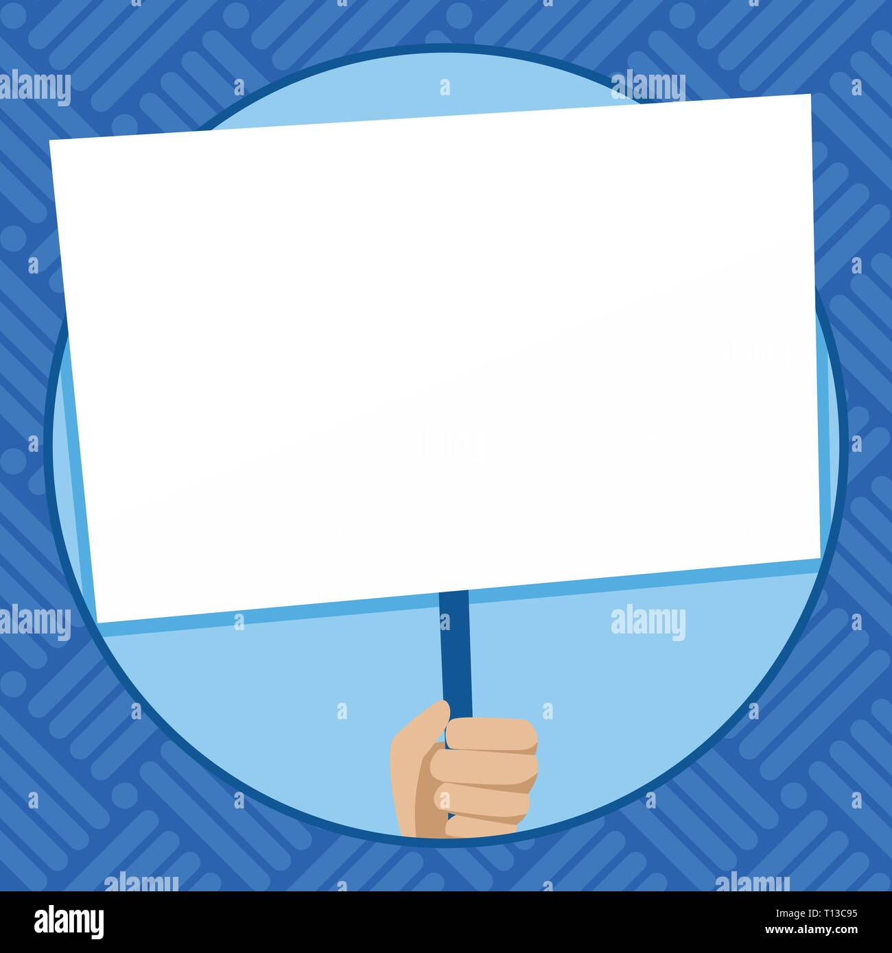 Hand Holding Blank White Placard Supported by Handle for Social Awareness Design business concept Empty copy space modern abstract background - Stock Vector