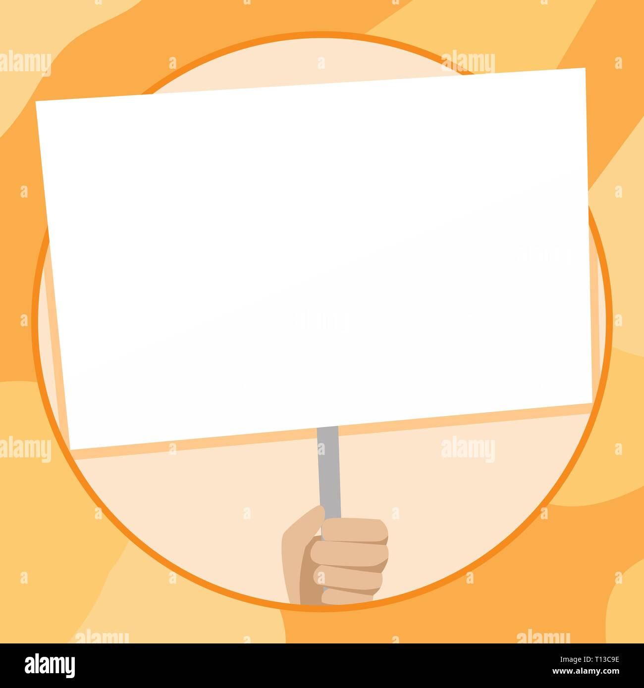 Hand Holding Blank White Placard Supported by Handle for Social Awareness Design business Empty template isolated Minimalist graphic layout template f - Stock Vector