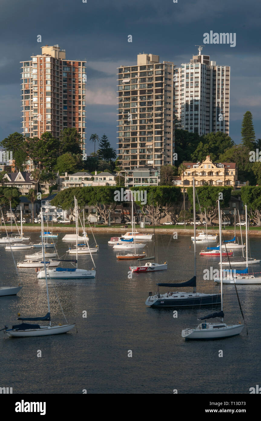 Darling Point seen across Rushcutters Bay, Sydney - Stock Image