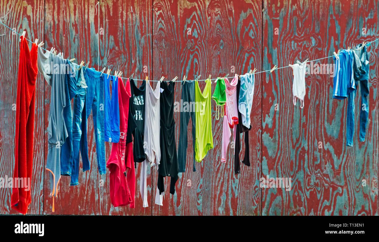 Drying laundry on clothesline, Qeqertarsuaq, Greenland - Stock Image