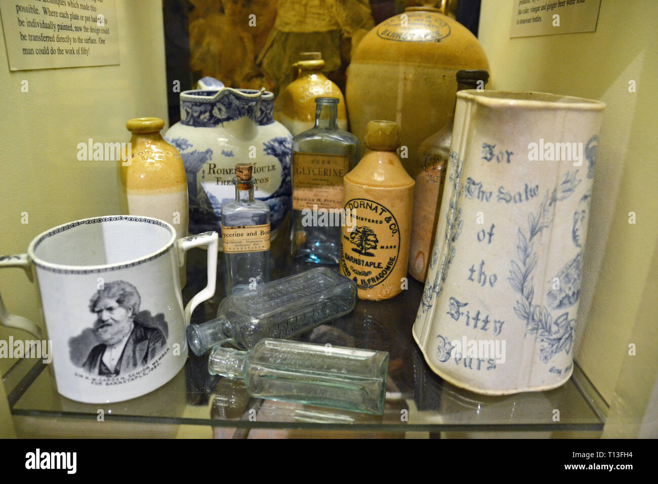 Local bottles, pottery, and ceramics in Barnstaple Museum