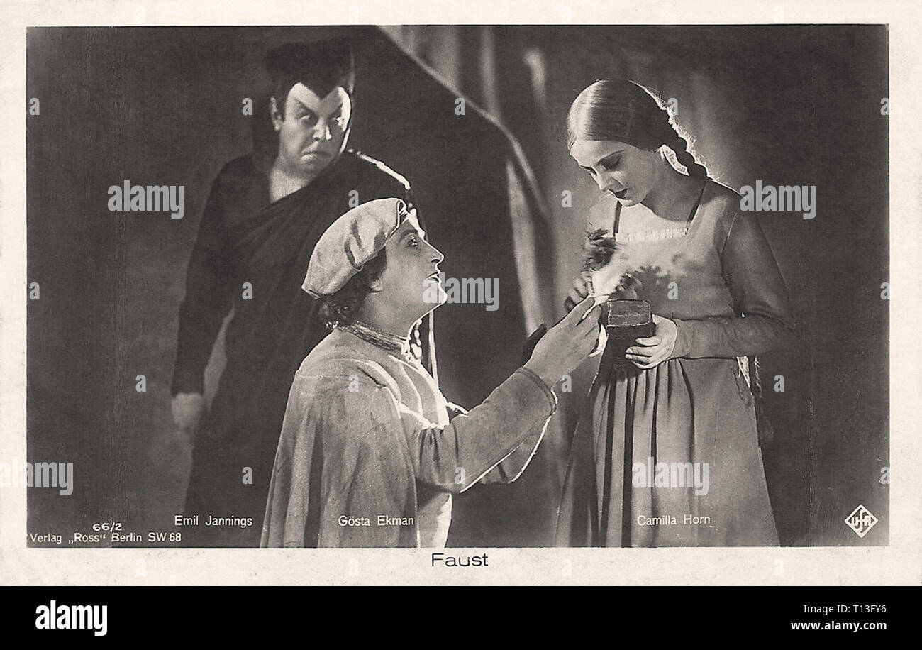 Promotional photography of Gösta Ekman  Emil Jannings and Camilla Horn in Faust (1926) - Silent movie era Stock Photo