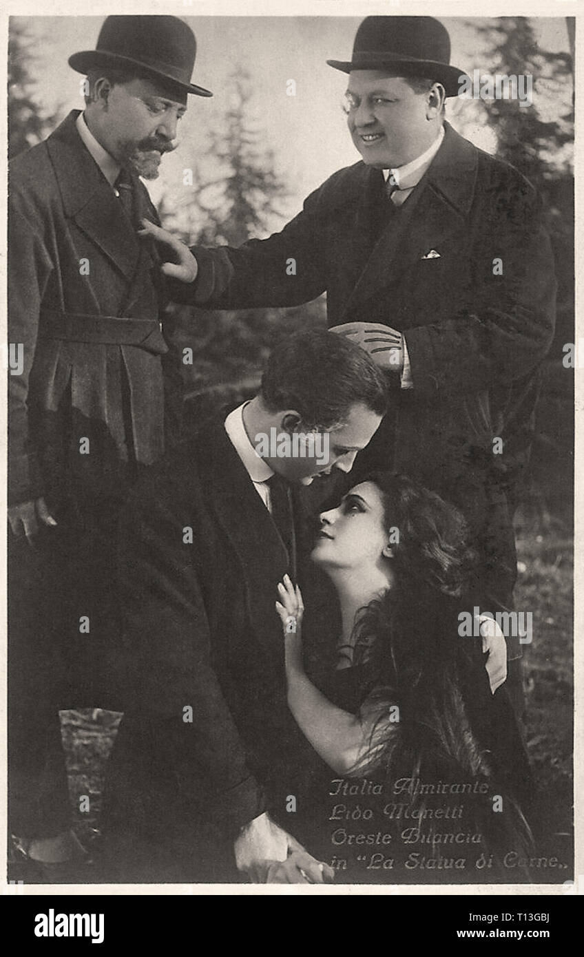Promotional photography of Italia Almirante  Lido Manetti and Oreste Bilancia in La Statua DI Carne - Silent movie era - Stock Image