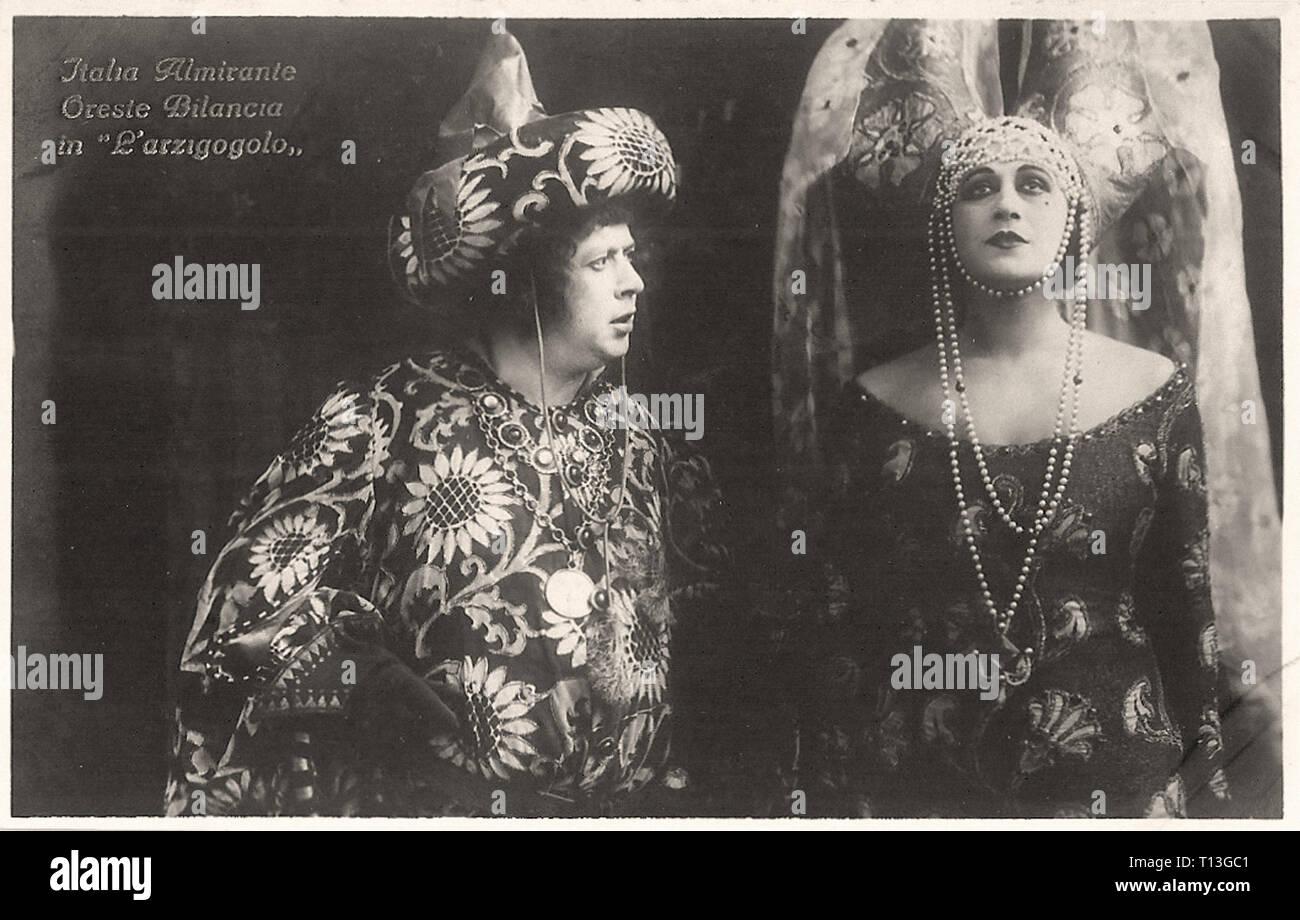 Promotional photography of Italia Almirante and Oreste Bilancia in L'arzigogolo - Silent movie era - Stock Image