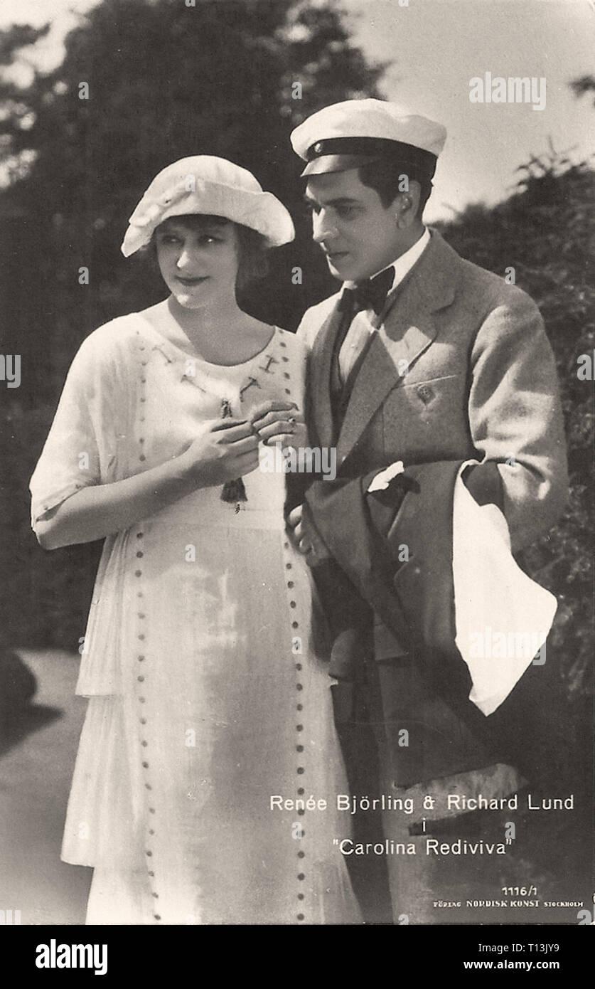 Promotional photography of Renée Björling and Richard Lund in Carolina Rediviva - Silent movie era Stock Photo