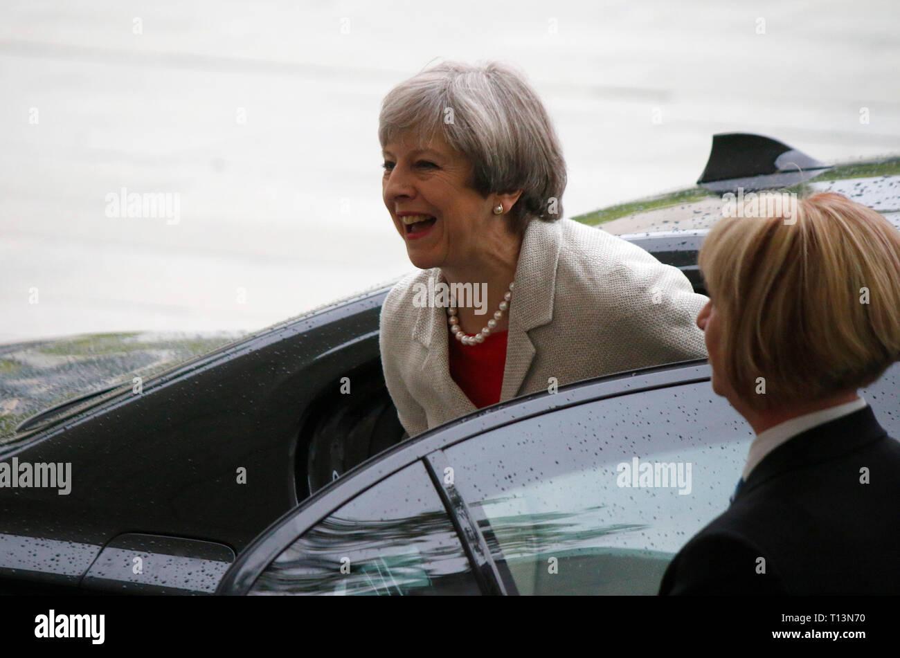 Theresa May - Vorbereitungstreffen europaeischer Staatschefs fuer den G20 Gipfel, Bundeskanzleramt, 29. Juni 2017, Berlin. - Stock Image