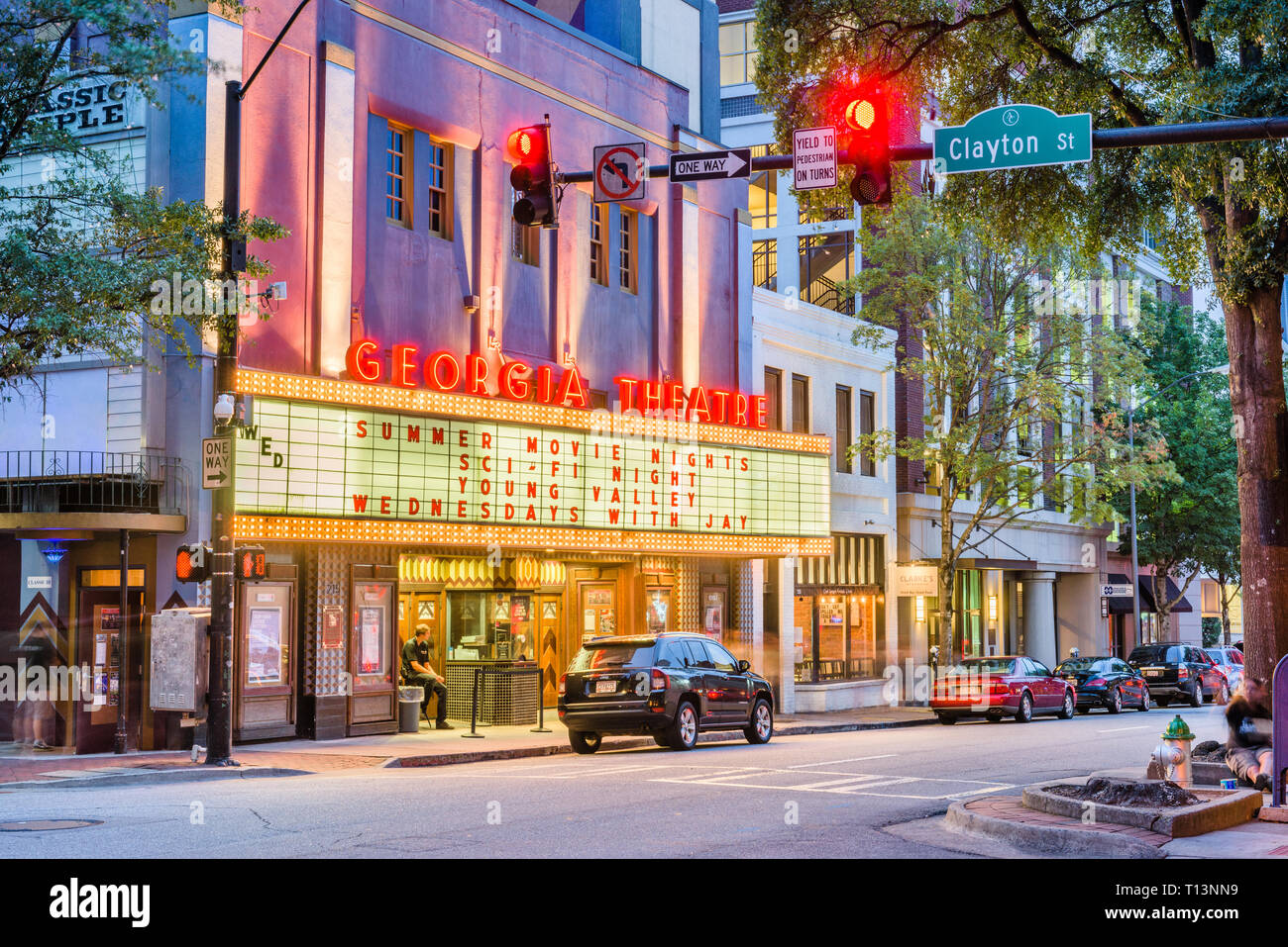 ATHENS, GEORGIA - AUGUST 3, 2017: The historic Georgia Theatre at dusk. The venue has featured many prominent acts from the prolific Athens music scen - Stock Image