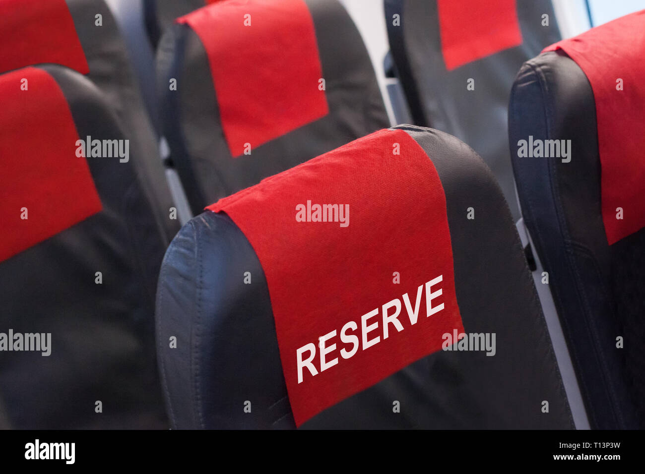 Early seat reservation, airline offers concept - Stock Image