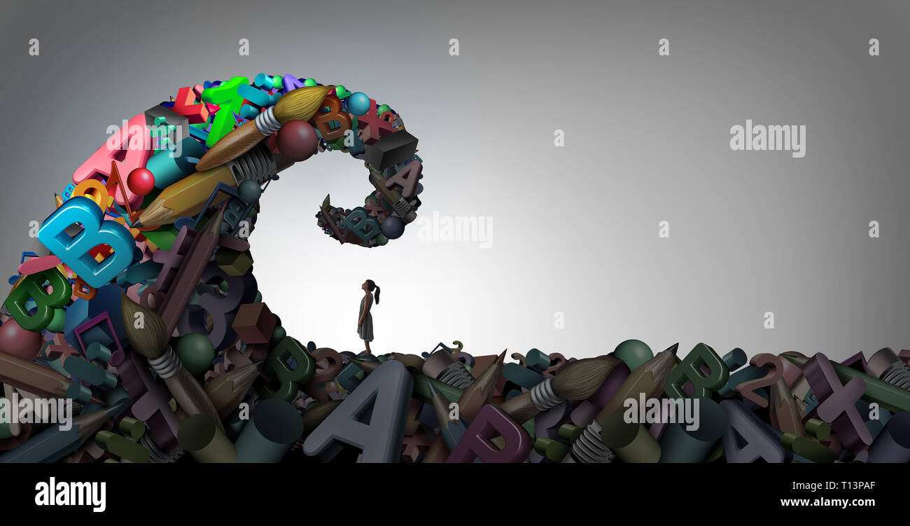 Learning disability concept and dyslexia  or ADHD disorder symbol or attention deficit and school anxiety or stress with math and reading or writing. Stock Photo