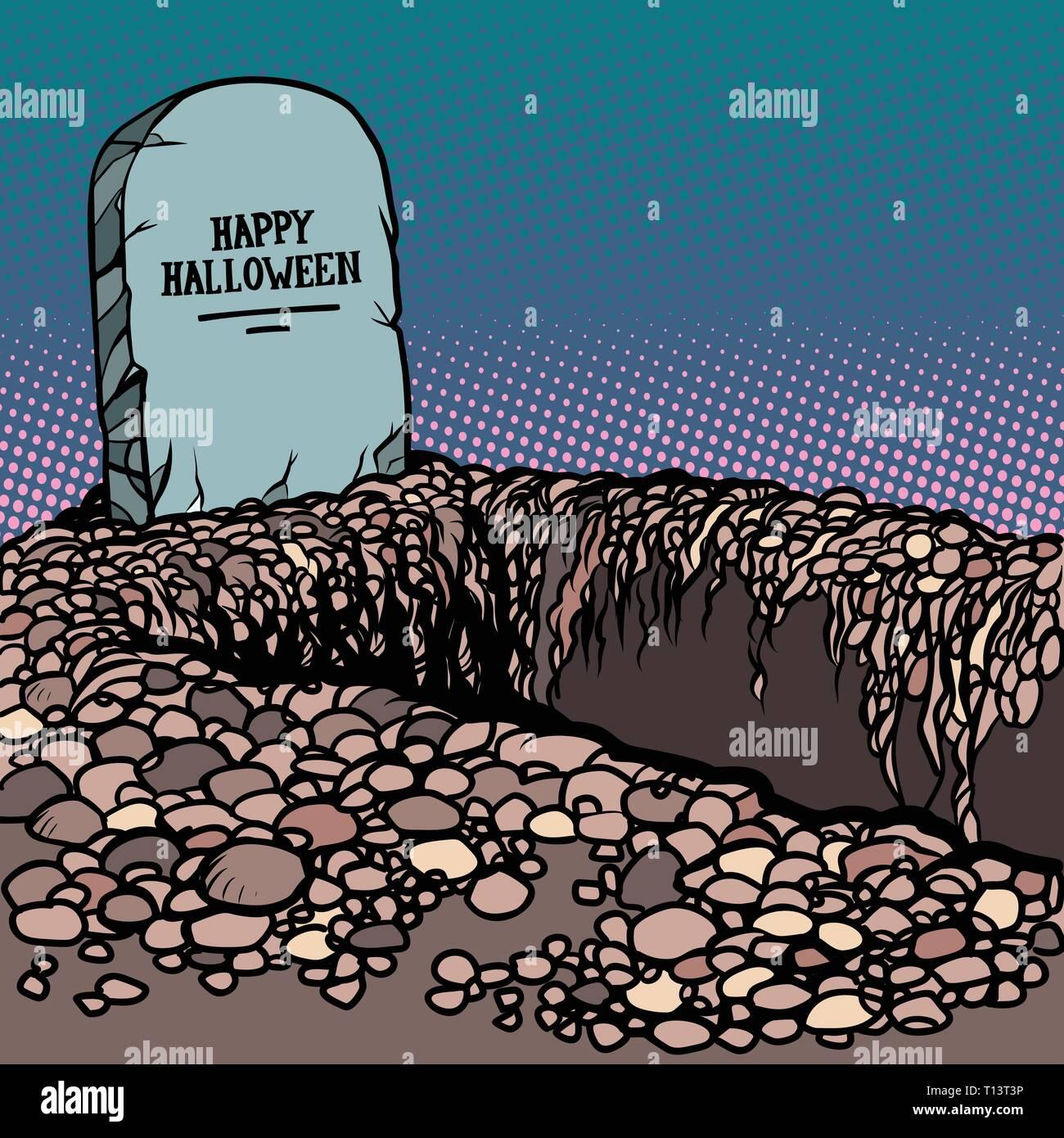 happy Halloween grave - Stock Vector