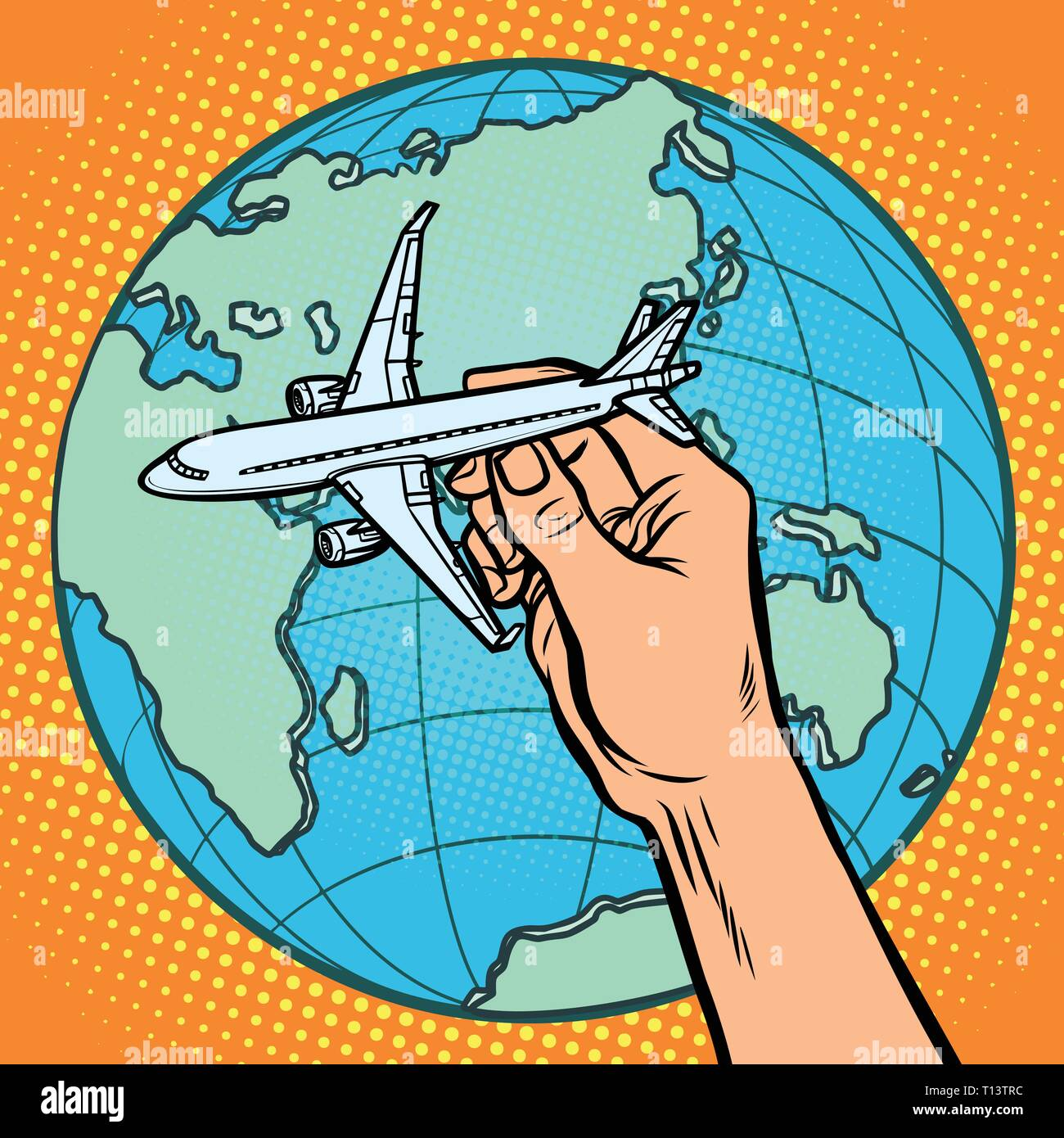 plane in hand. metaphor of flight to the Eastern hemisphere - Stock Vector