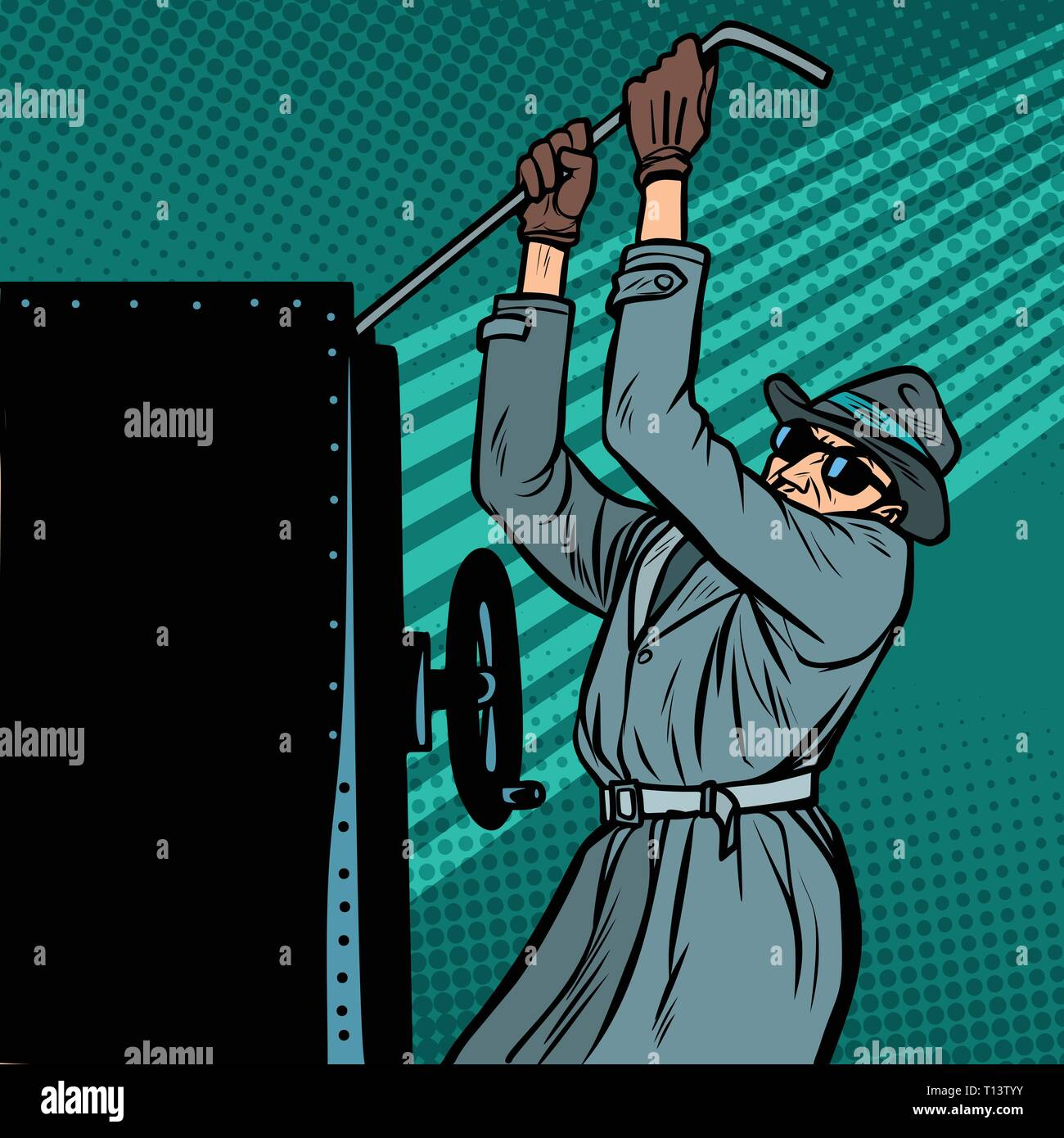 spy breaks into safe - Stock Vector