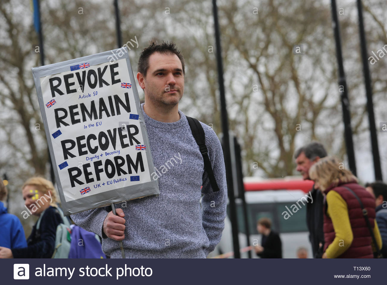 London, UK. 23rd Mar, 2019. Supporters of a final say on leaving the EU have started gathering in London for the protest which will end up in Westminster.Many well known speakers including Tom Watson will address the crowd this evening. Here James from Bracknel holds a sign aloft. He says that for future generations remaining in the EU is vital Credit: Clearpix/Alamy Live News Stock Photo