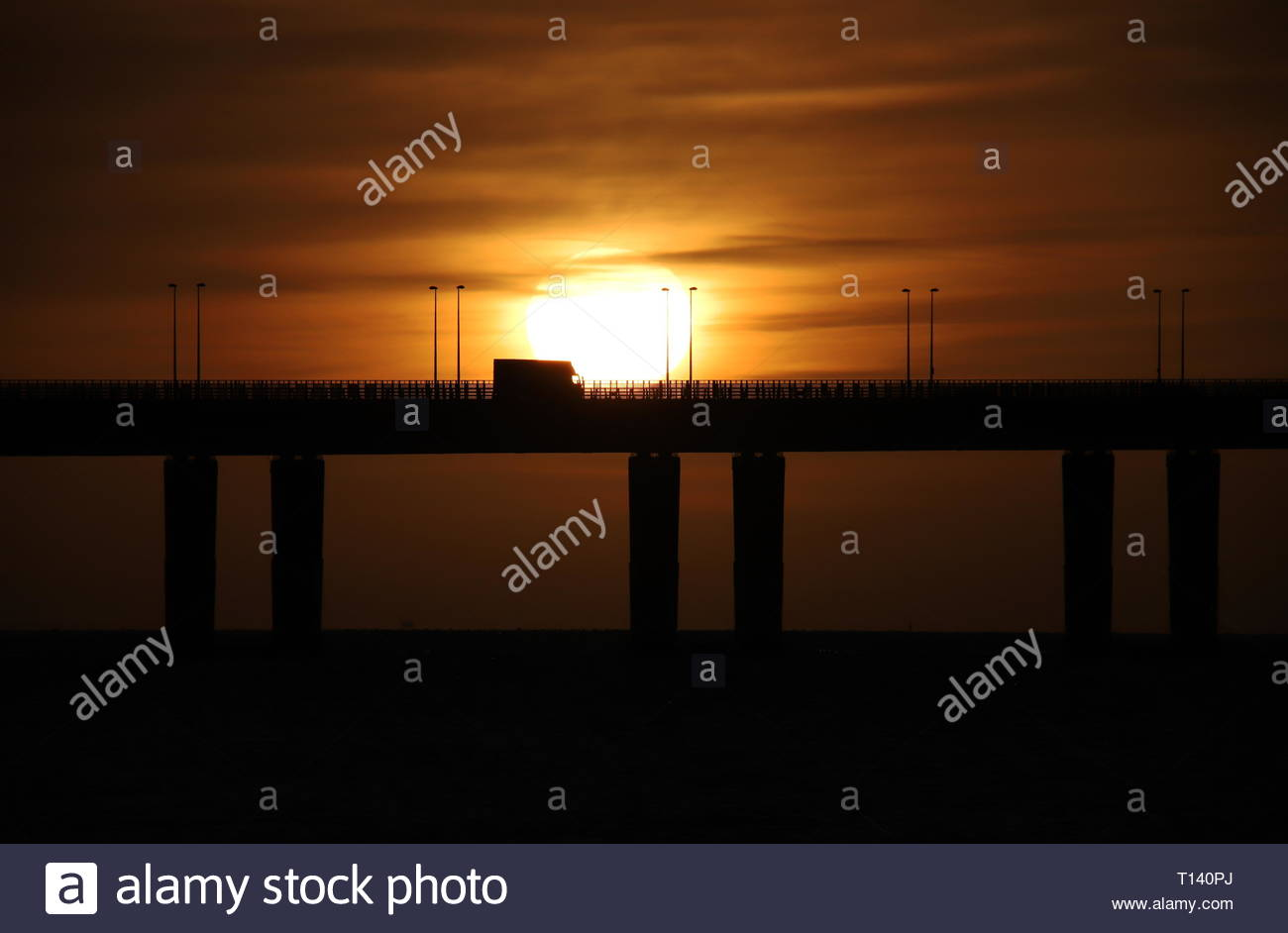 Dundee, UK. 23rd Mar, 2019. Tay Road Bridge at Sunrise, a bright start to a sunny day in Tayside. Credit: Stephen Finn/Alamy Live News Stock Photo
