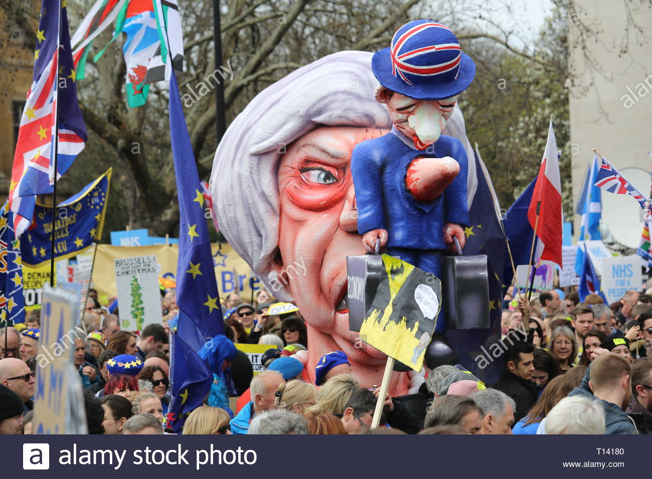 London, UK. 23rd Mar 2019. Supporters of a final say on leaving the EU have started gathering in London for the protest which will end up in Westminster.Many well known speakers including Tom Watson has said he will take part in the rally. Other speakers so far have included Caroline Lucas and Clive Lewis. Credit: Clearpix/Alamy Live News Credit: Clearpix/Alamy Live News Stock Photo