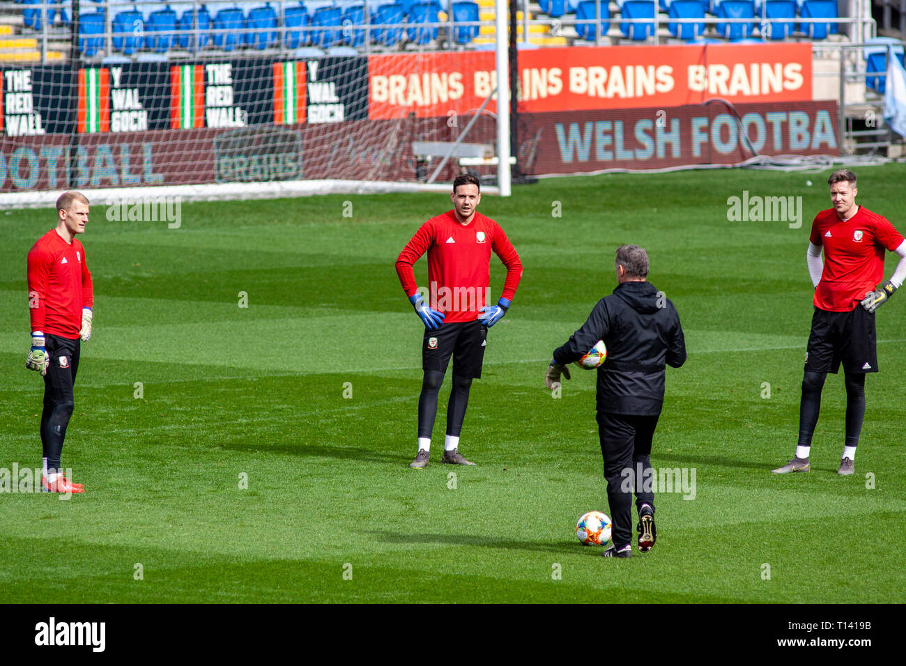 Cardiff, UK. 23rd Mar, 2019. Welsh Goalkeepers Chris Maxwell, Danny Ward & Wayne Hennessey at training ahead of Wales v Slovakia UEFA Euro 2020 Qualifier at the Cardiff City Stadium. Credit: Lewis Mitchell/Alamy Live News Stock Photo