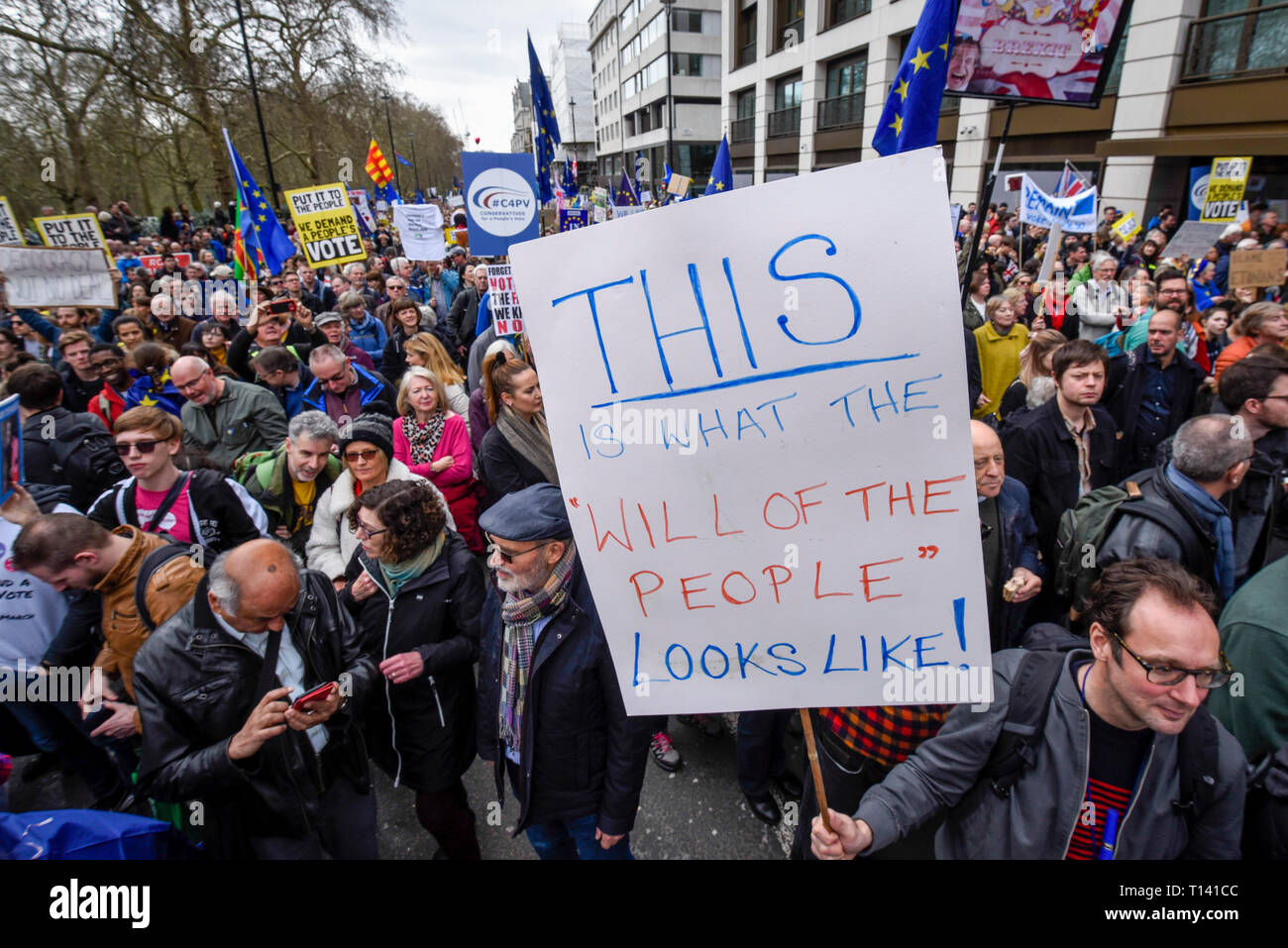 """London, UK.  23 March 2019. Signs carried aloft. Thousands of people take part in the """"Put It To The People March"""" marching from Park Lane to Parliament Square on what was supposed to be six days before the UK was due to leave the EU, before an extension to the departure date was given.  Protesters demand that the public is given a final say on Brexit as support for the Prime Minister's withdrawal plan continues to recede.  Credit: Stephen Chung / Alamy Live News Stock Photo"""