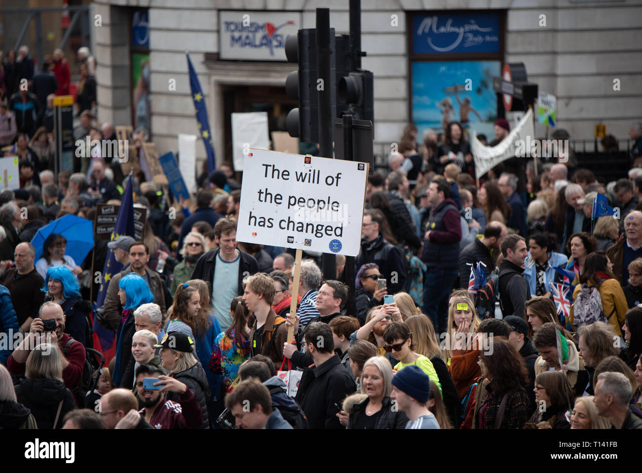 Hundreds of thousands of people march in central London to join the 'Put it to the People March' to make the calls for a People's Vote. People have come from all around the country to show their support. Stock Photo