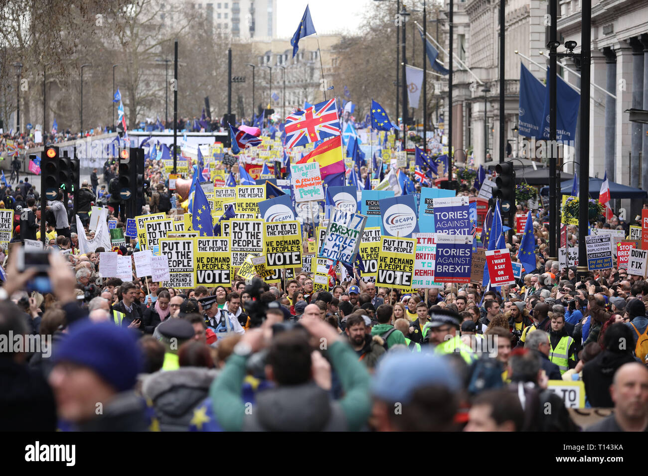 London, UK. 23rd Mar 2019.Hundreds of thousands of people take part in a People's March protest to try and get a People's Vote on Brexit. Britain was due to leave the EU on March 29, 2019, but this is now in doubt. The march started in Park Lane and finished in Westminster, outside the Houses of Parliament, London, UK on March 23, 2019. Credit: Paul Marriott/Alamy Live News Stock Photo