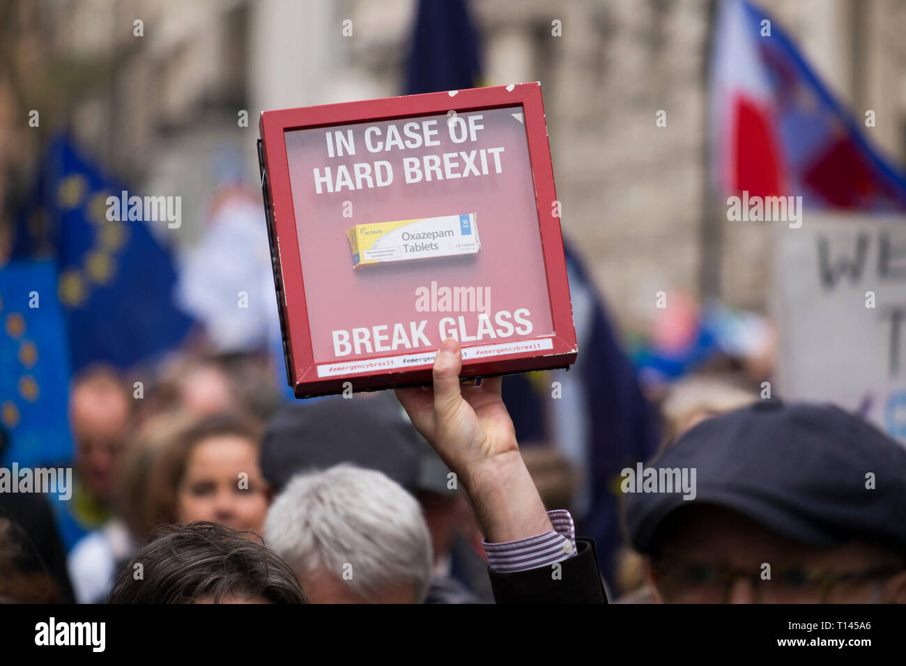 London, UK. 23 March, 2019. 'Put It To The People March', organised by the People's Vote Campaign and run by British pro-European campaign group Open Britain, takes place in central London, starting at Park Lane via Piccadilly to Parliament Square and attracting demonstrators from across the country who want a new Brexit referendum. Credit: Malcolm Park/Alamy Live News. Stock Photo