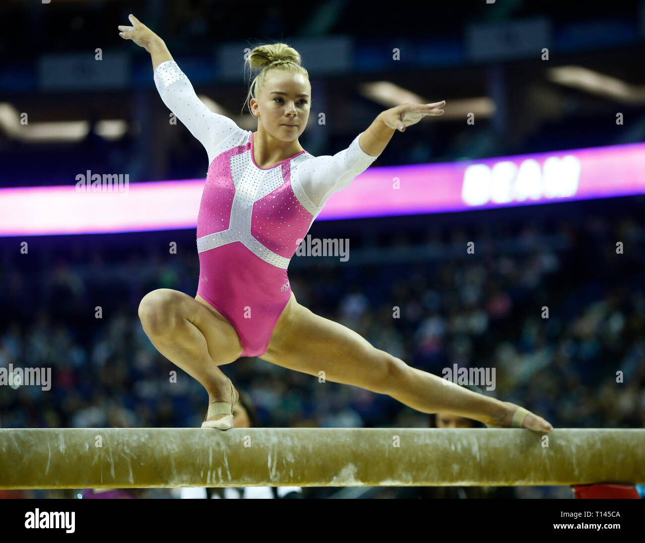 London, UK. 23rd Mar, 2019. London, 23 March, 2019 Halle Hilton of Great Britain on the Women's Beam during The Superstars of Gymnastics at 02 Areana, London, England on 23 Mar 2019. Credit: Action Foto Sport/Alamy Live News Stock Photo