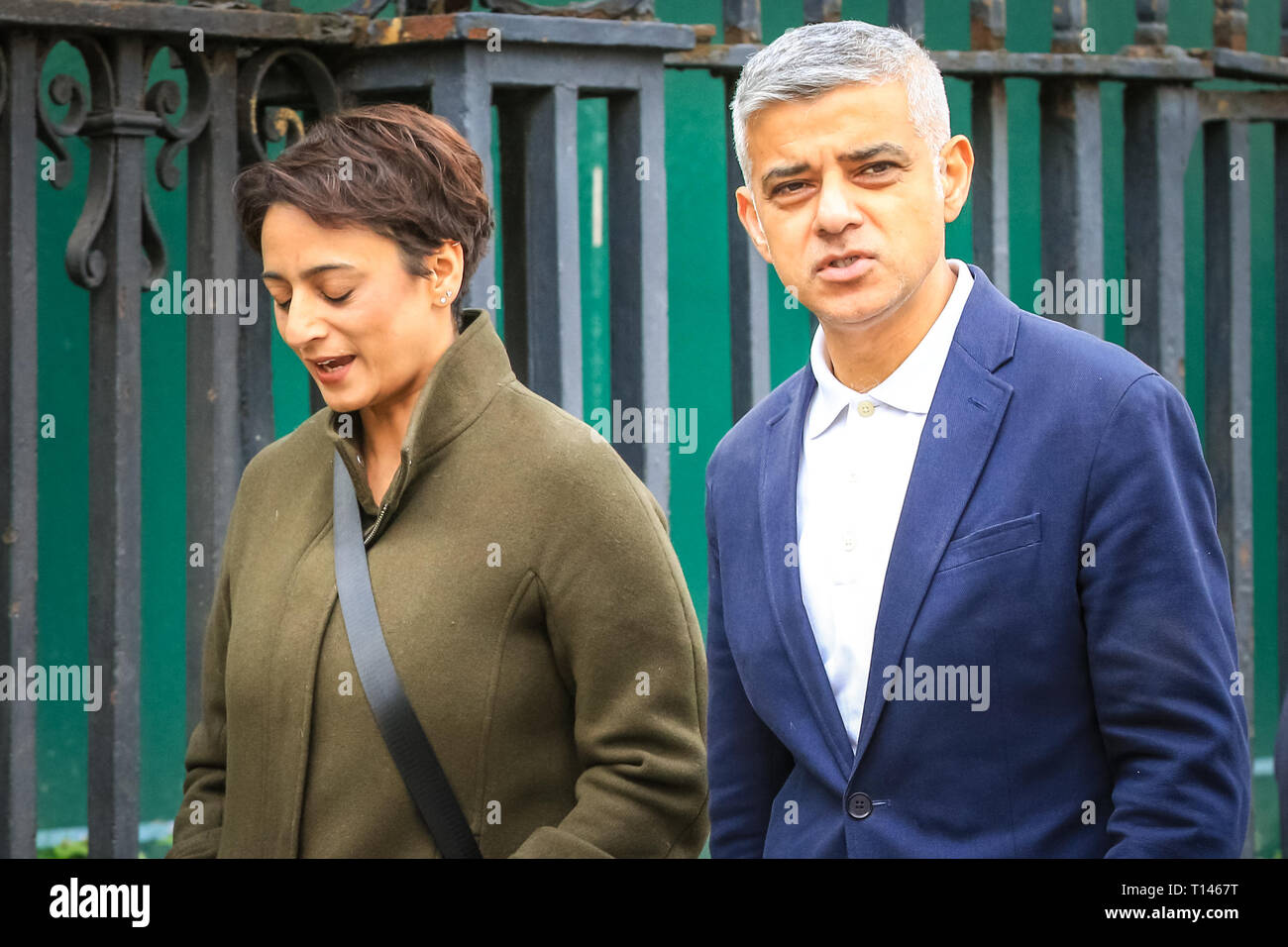 London, UK. 23rd Mar, 2019. London Mayor Sadiq Khan. The 'People's Vote March', also referred to as the 'Put it to the People' march at Parliament Square. The march, attended by hundreds of thousands, makes its way through Central London and ends with speeches by supporters and politicians in Parliament Square, Westminster. Credit: Imageplotter/Alamy Live News - Stock Image
