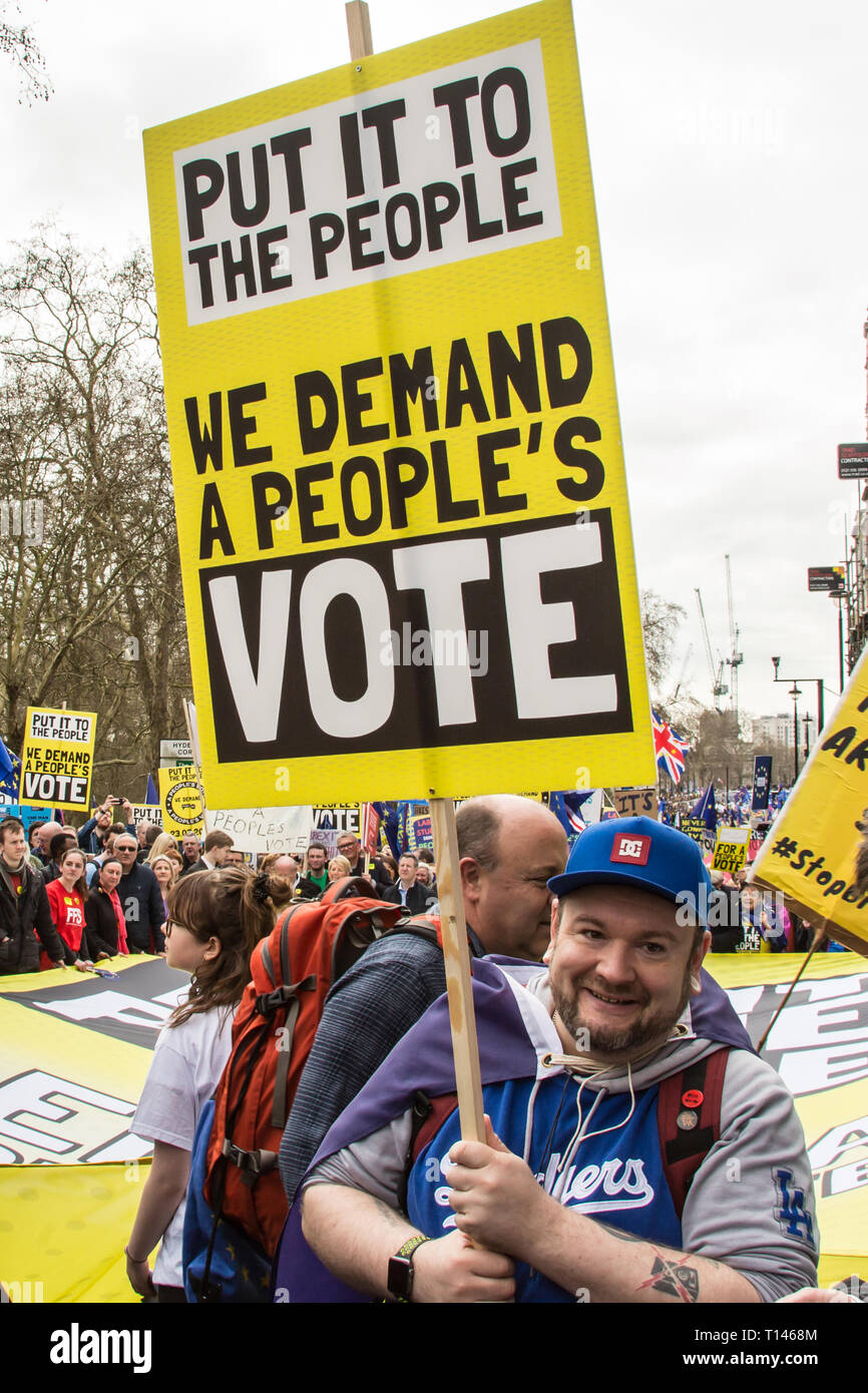 London UK, 23 March, 2019. Close to a million people demonstrated in central London to demand a peoples vote on brexit. David Rowe/ Alamy Live News. Stock Photo