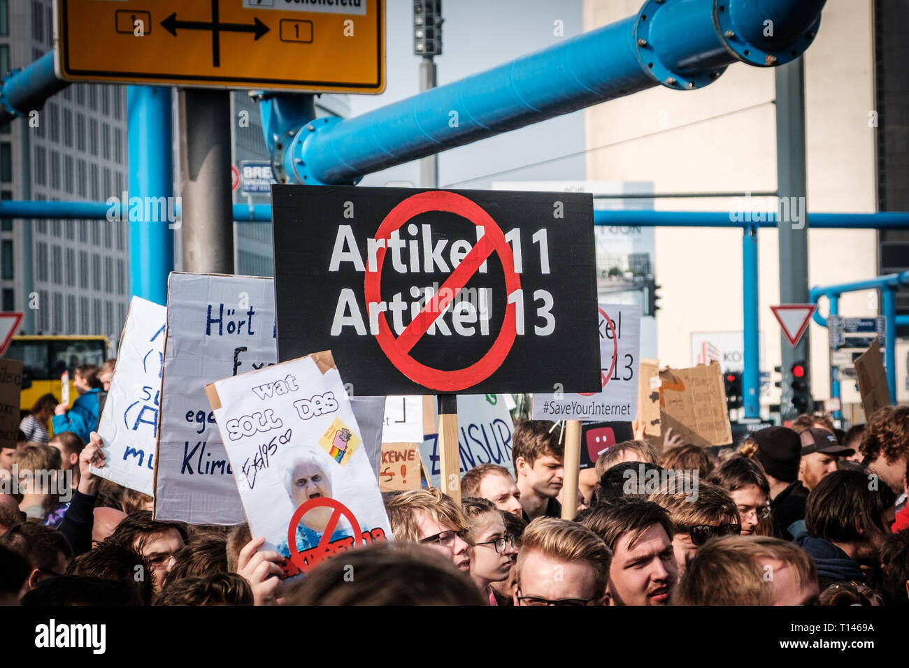 Berlin, Germany - march 23, 2019: Demonstration against EU copyright reform  / article 11 and article 13  in Berlin Germany. Stock Photo
