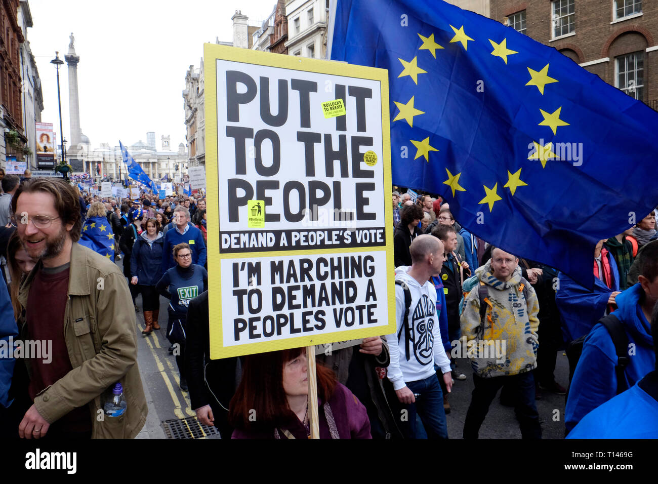 London, UK, 23rd March 2019. Over a million people march in central, demanding another Brexit vote. Credit: Yanice Idir / Alamy Live News Stock Photo