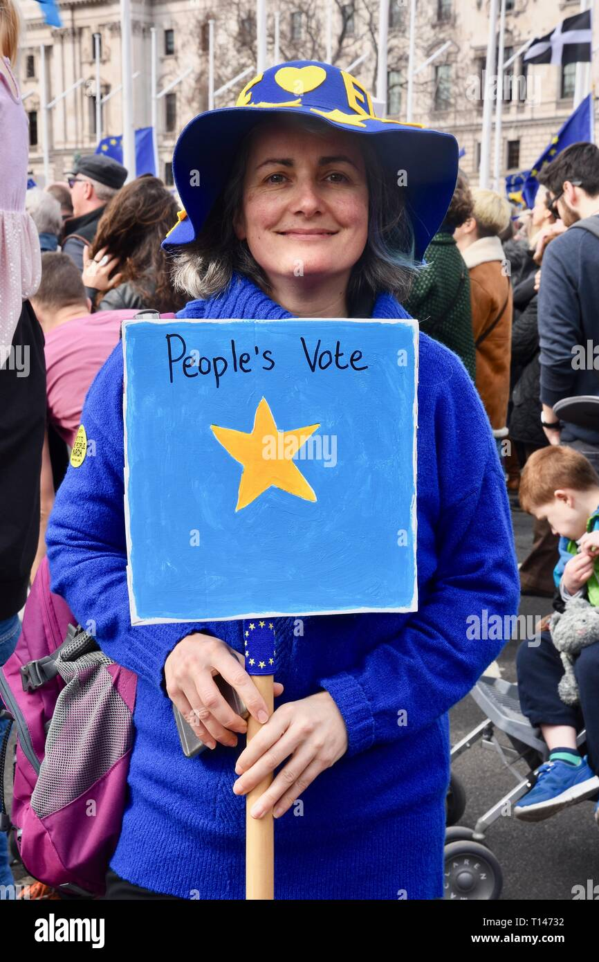 London, UK. 23rd March, 2019. People's Vote March, Parliament Square, London.UK Credit: michael melia/Alamy Live News - Stock Image