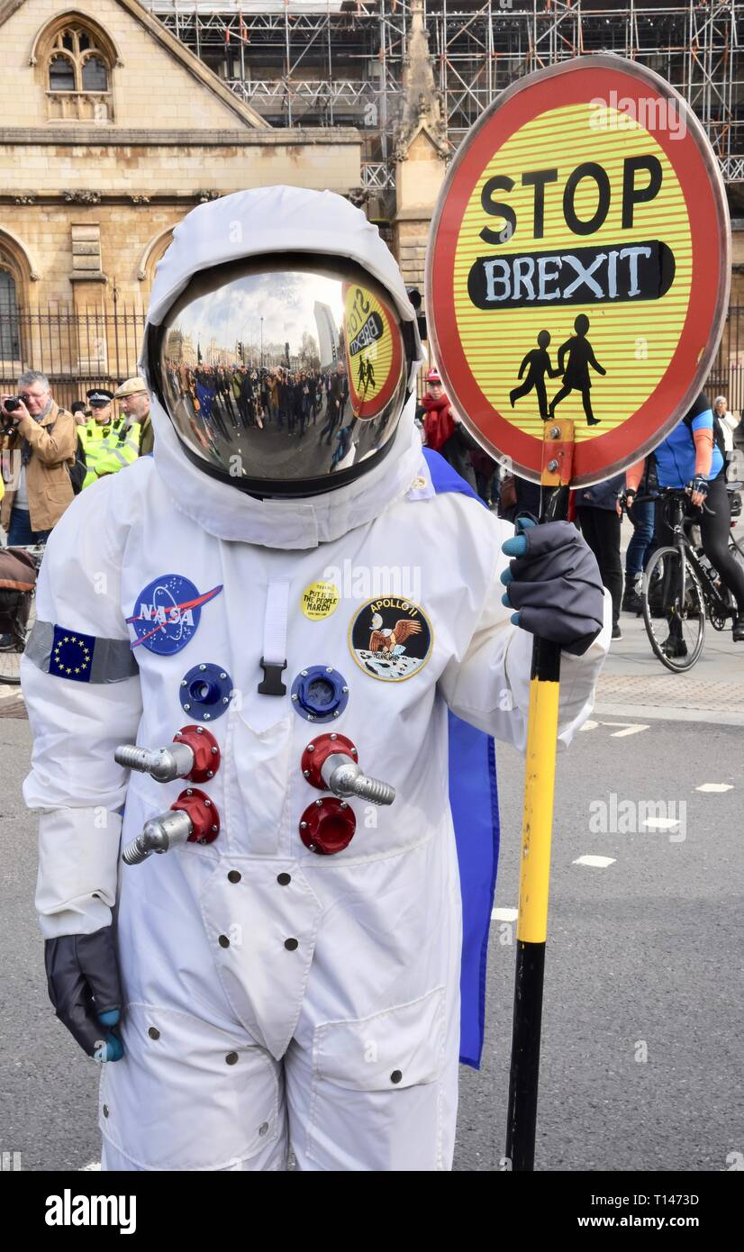 23rd March, 2019. Protesting Astronaut, People's Vote March, Parliament Square, London. UK Credit: michael melia/Alamy Live News - Stock Image