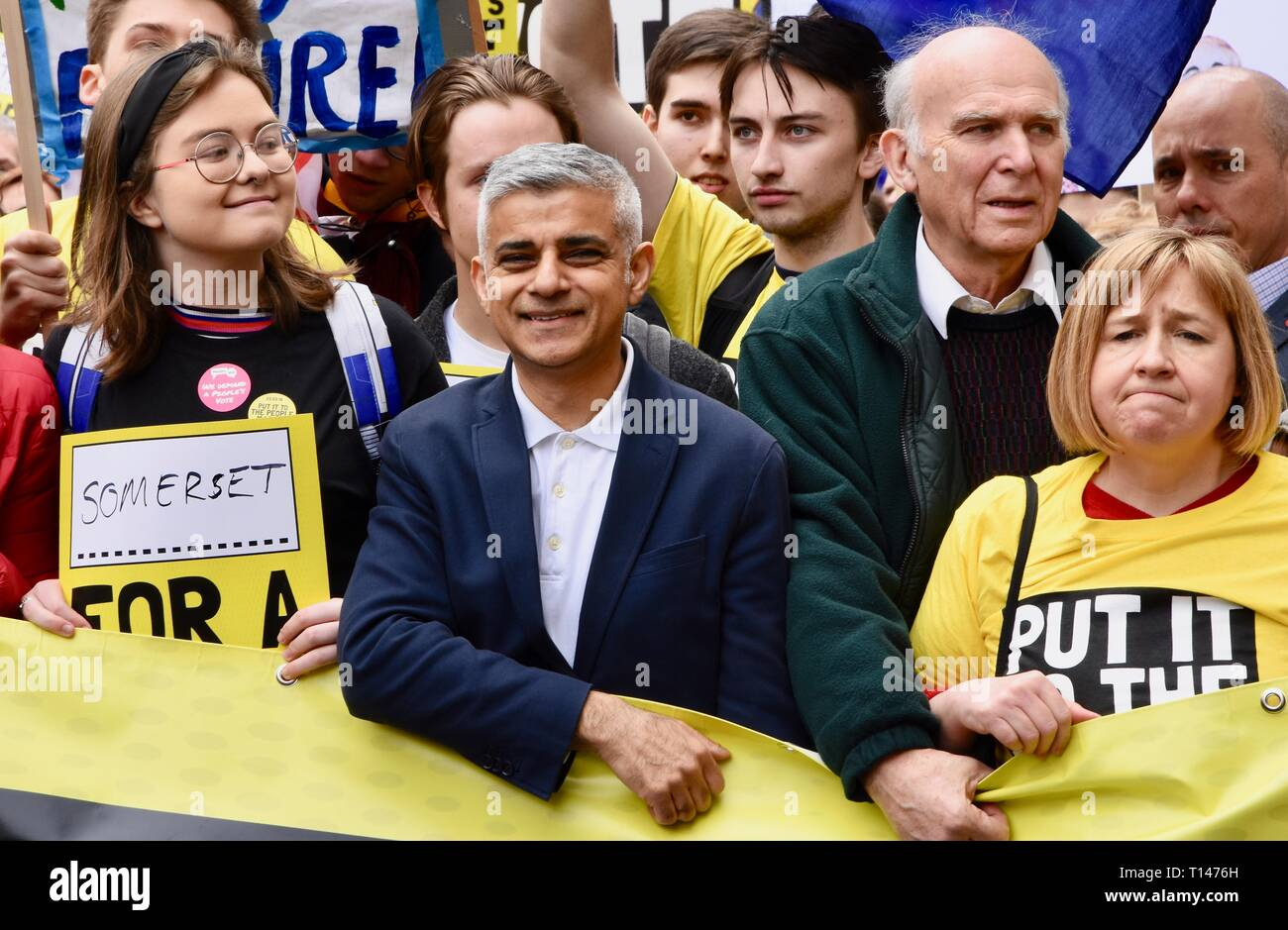 London, UK. 23rd March, 2019. Sadiq Khan, Mayor of London, People's Vote March, Piccadilly, London.UK Credit: michael melia/Alamy Live News - Stock Image
